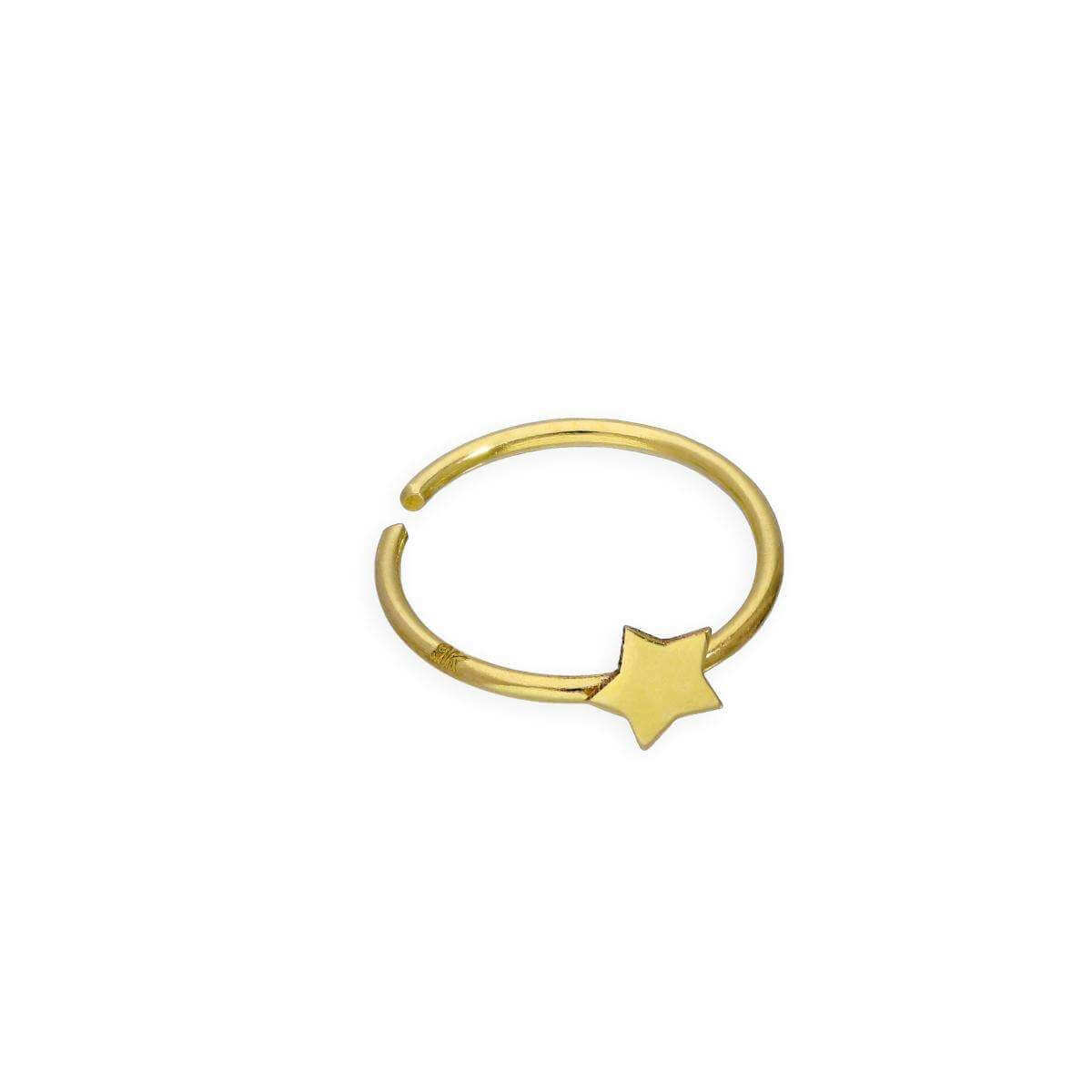9ct Gold Star Open Nose Hoop Ring 24Ga