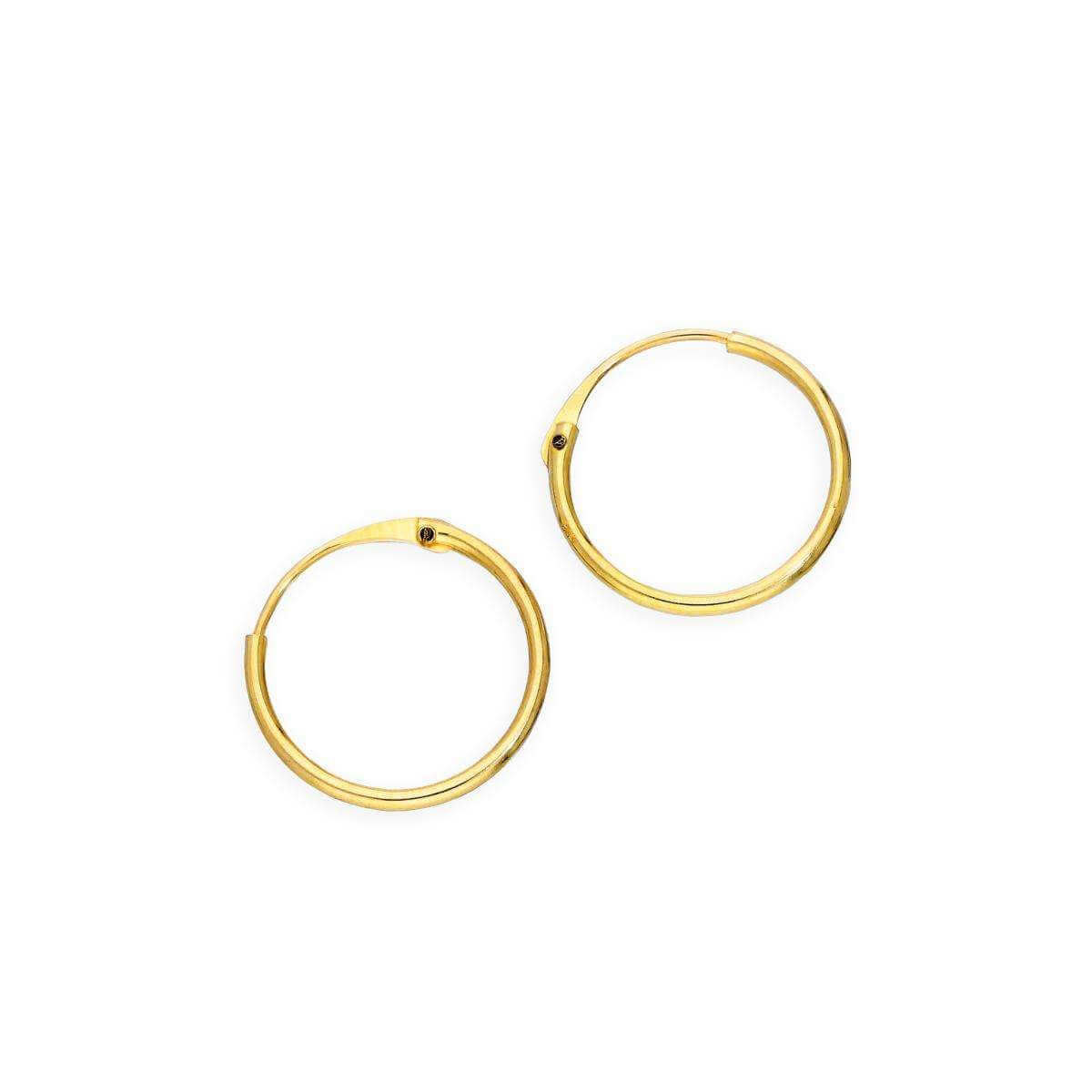 9ct Gold 0.8mm Tube Hoop Earrings 10mm