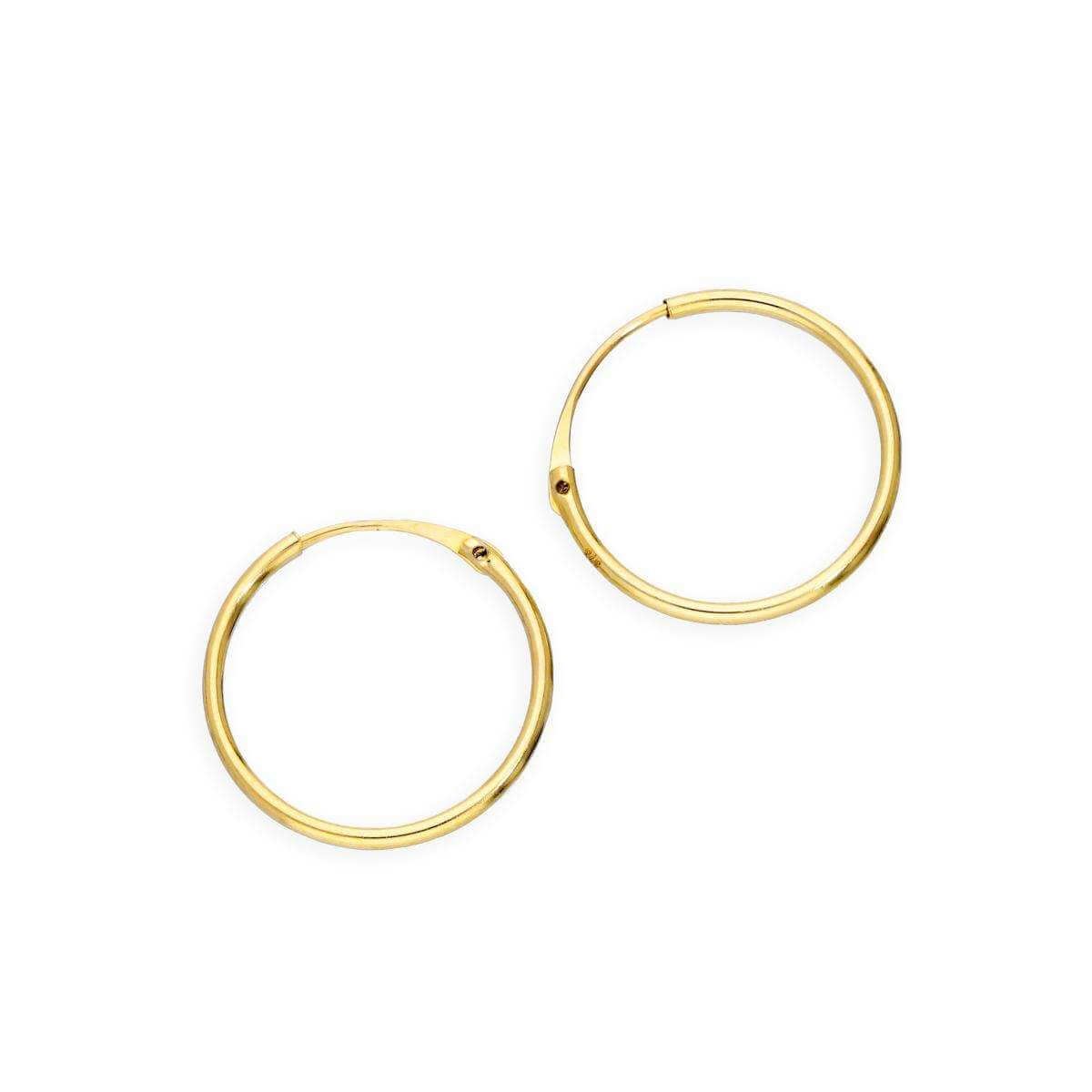 9ct Gold 0.8mm Tube Hoop Earrings 12mm
