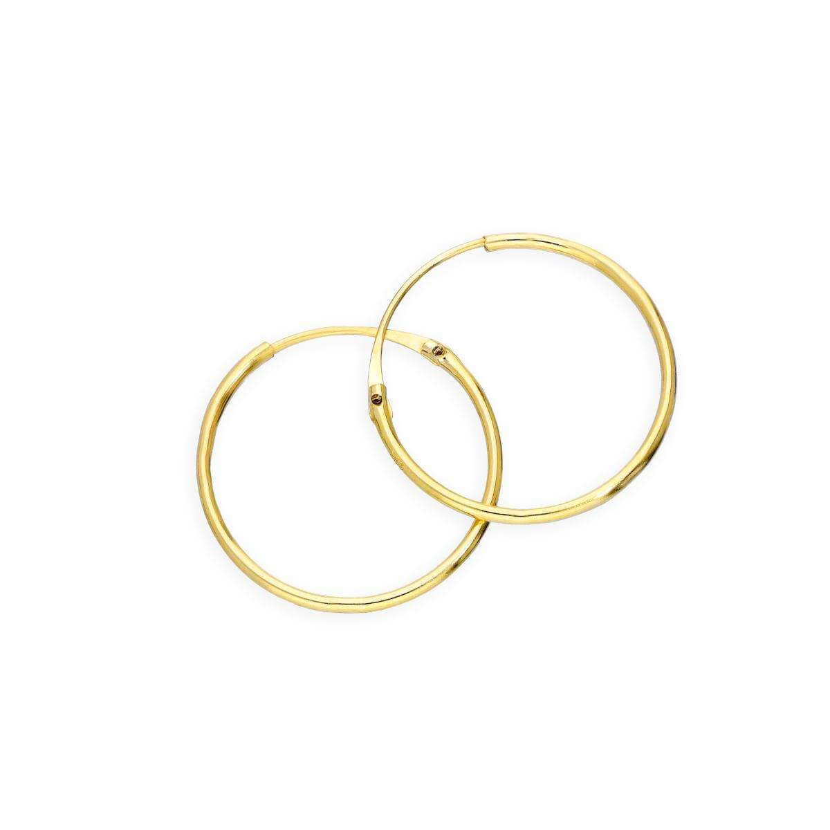 9ct Gold 0.8mm Tube Hoop Earrings 14mm