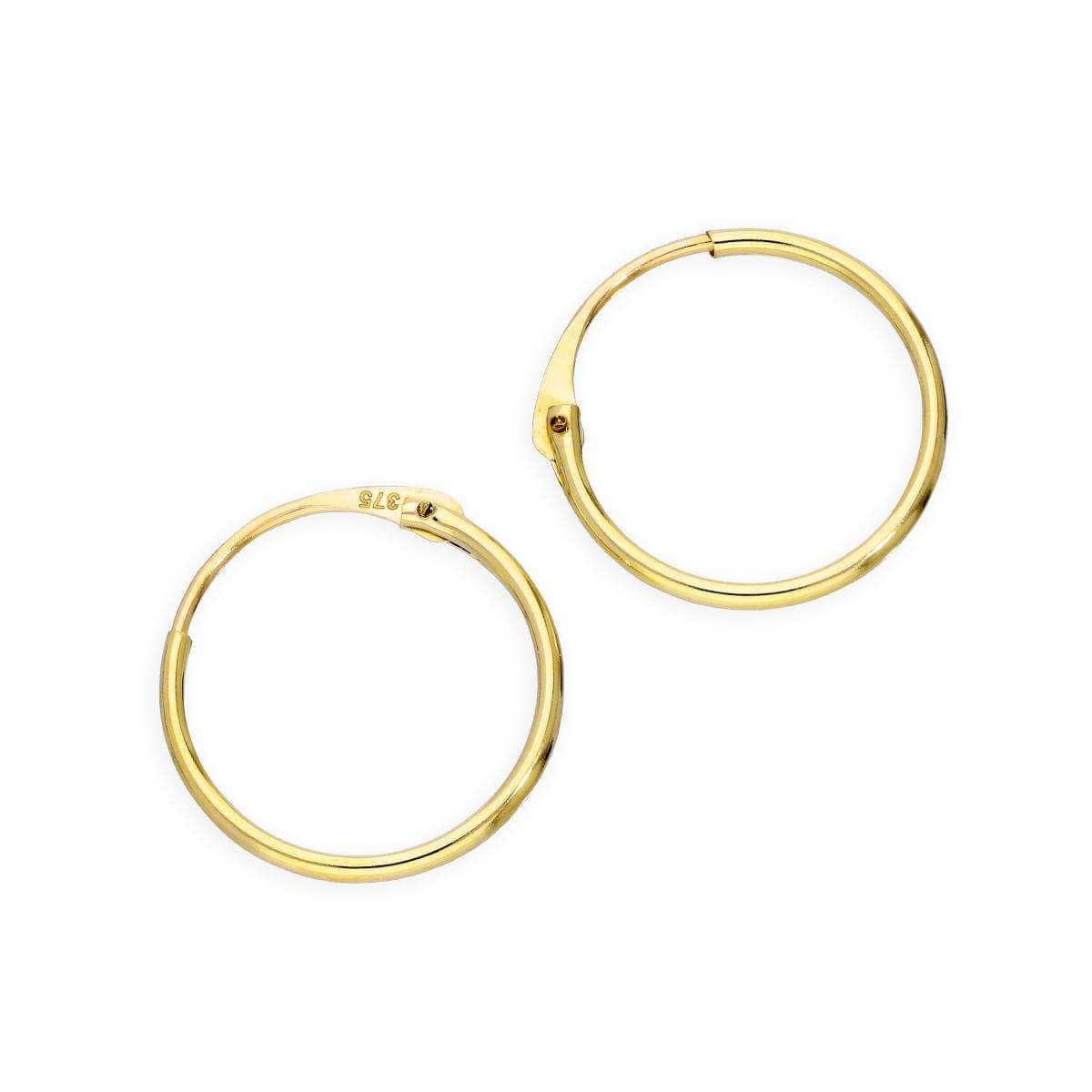 9ct Gold 1mm Tube Hoop Earrings 12mm