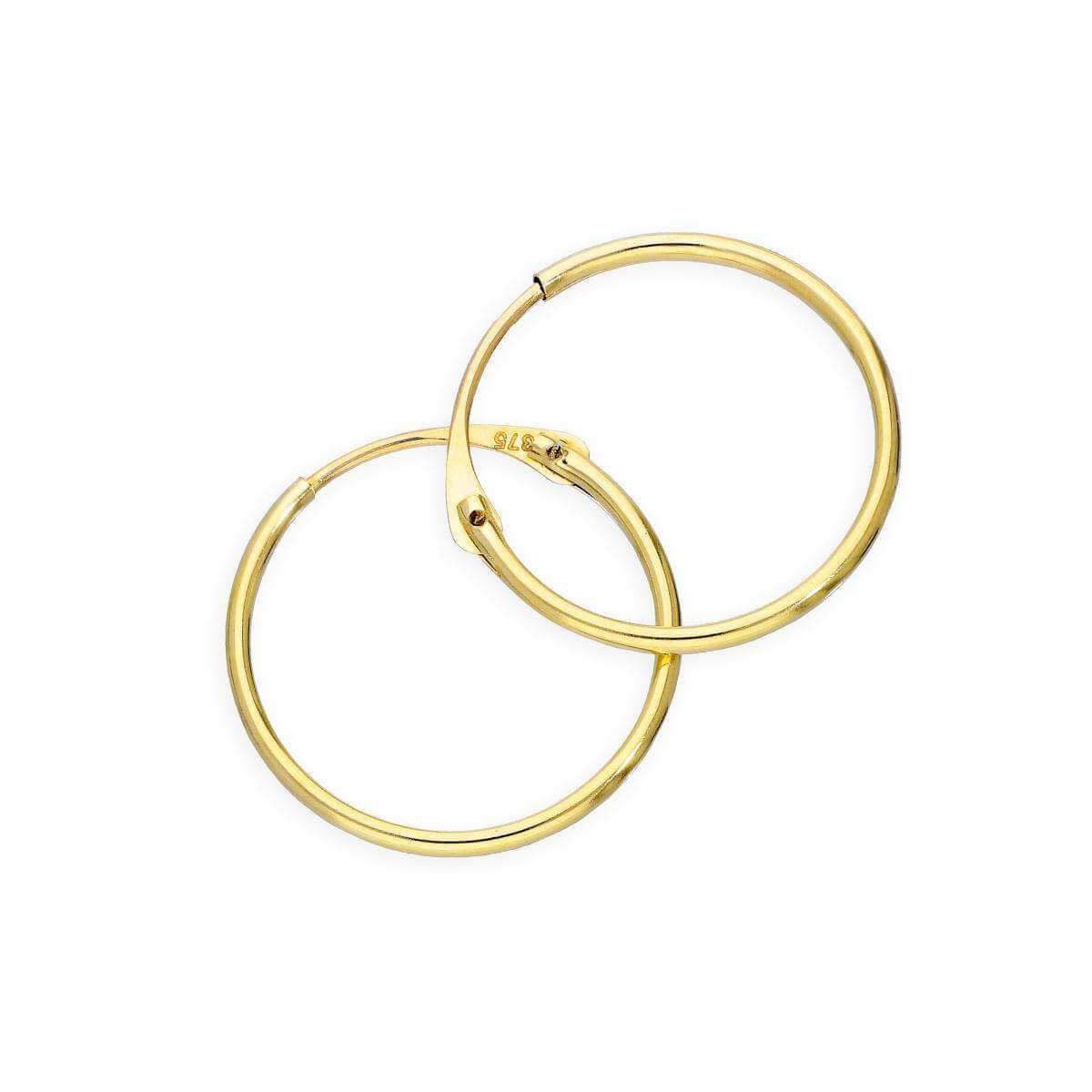 9ct Gold 1mm Tube Hoop Earrings 14mm