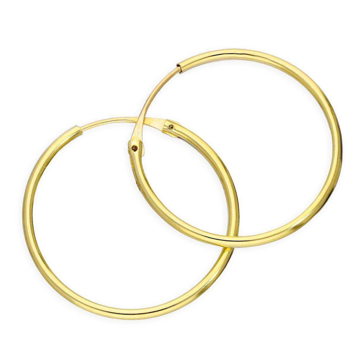 9ct Gold 1.2mm Tube Hoop Earrings 20mm