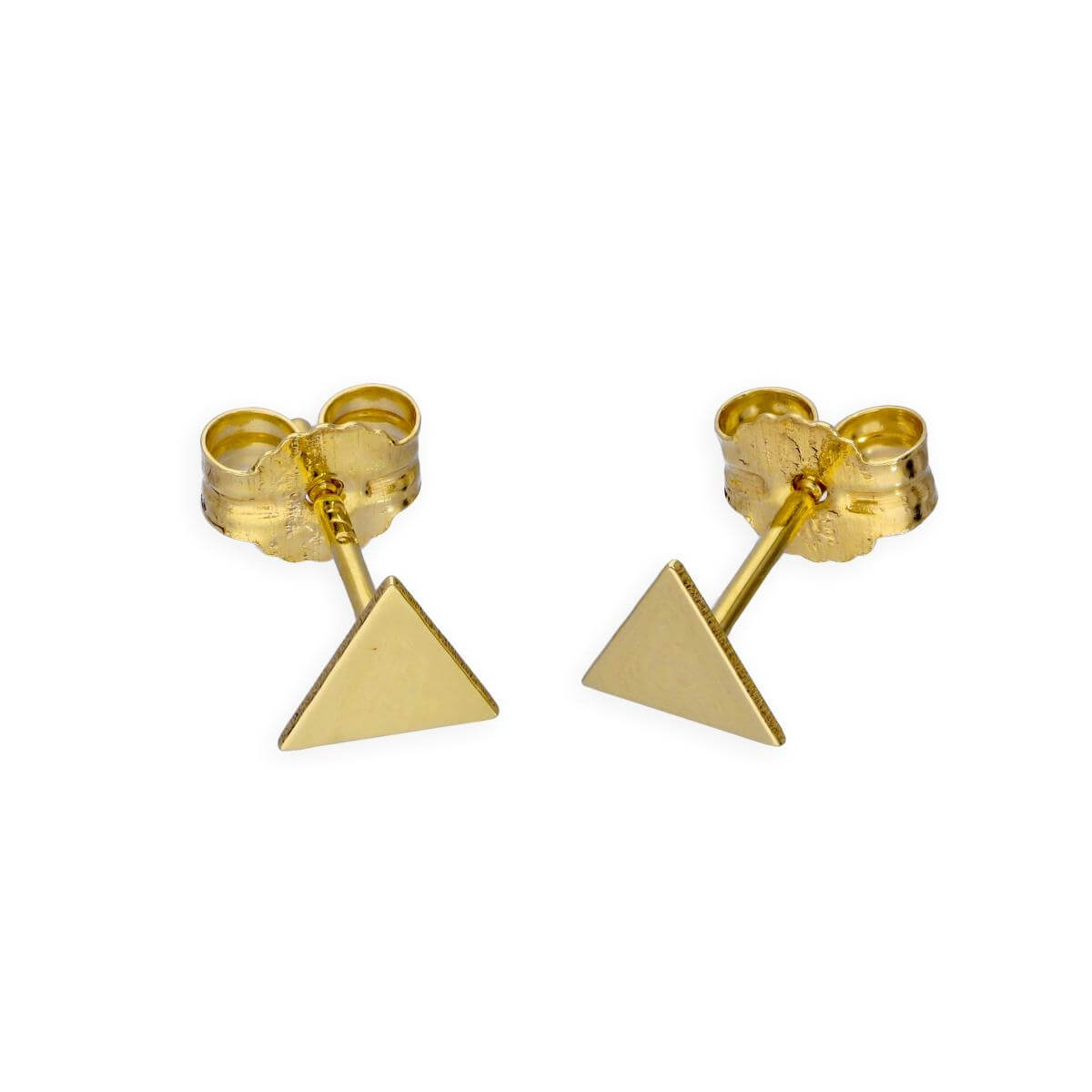 9ct Gold Flat Triangle Stud Earrings