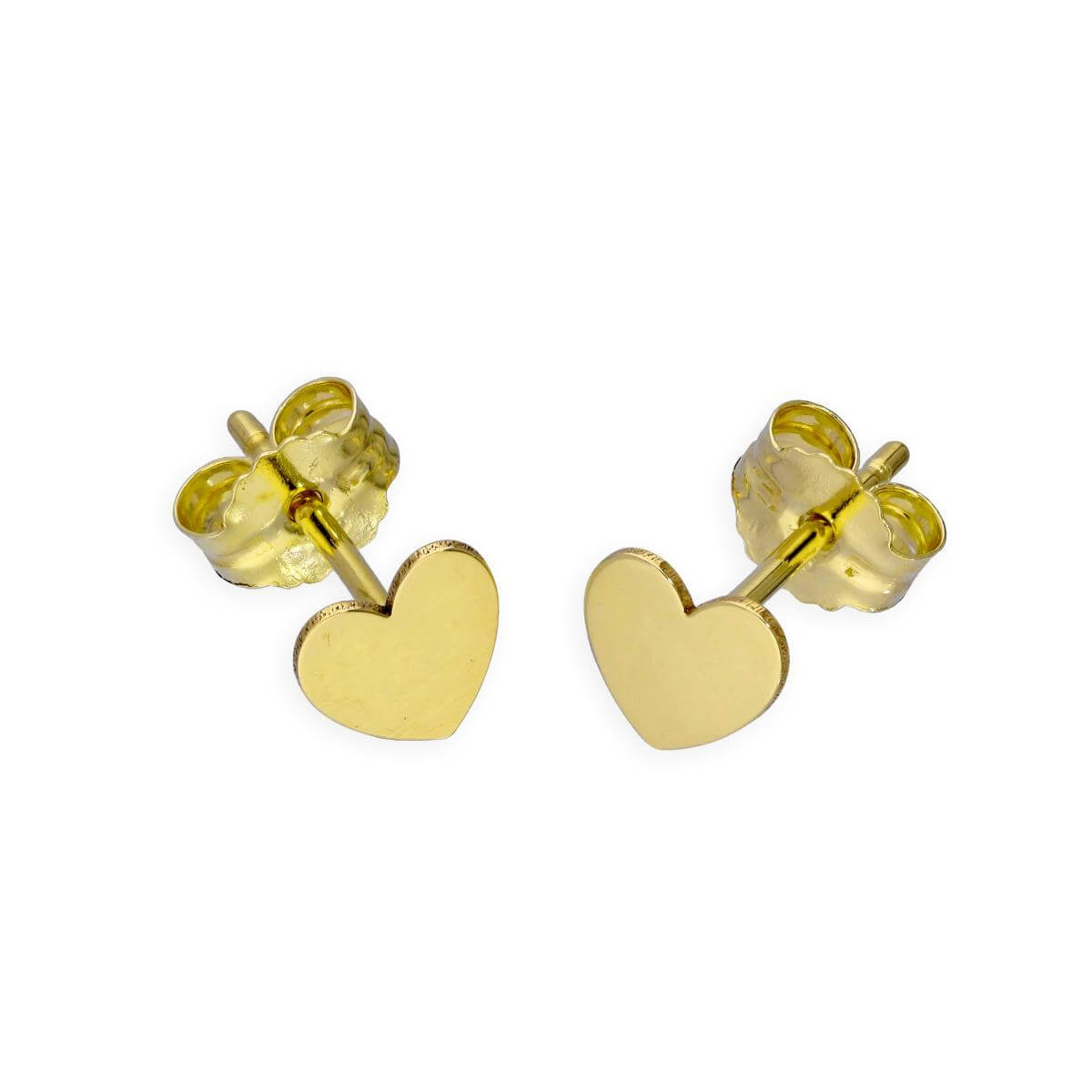 9ct Gold Flat Heart Stud Earrings