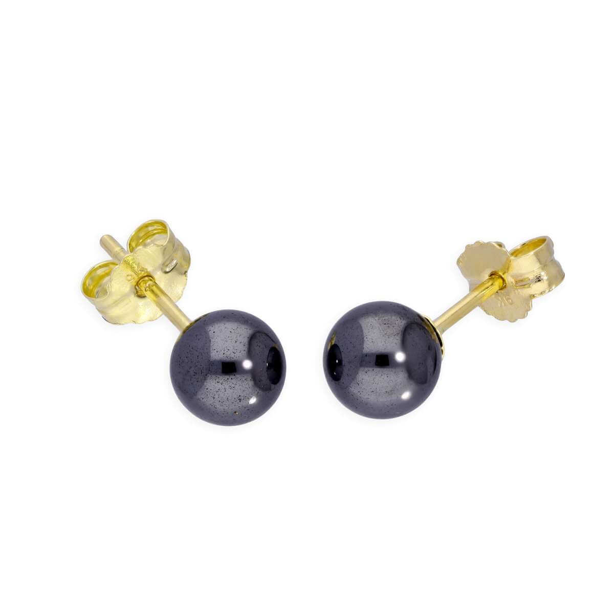 9ct Gold & 5mm Haematite Stud Earrings