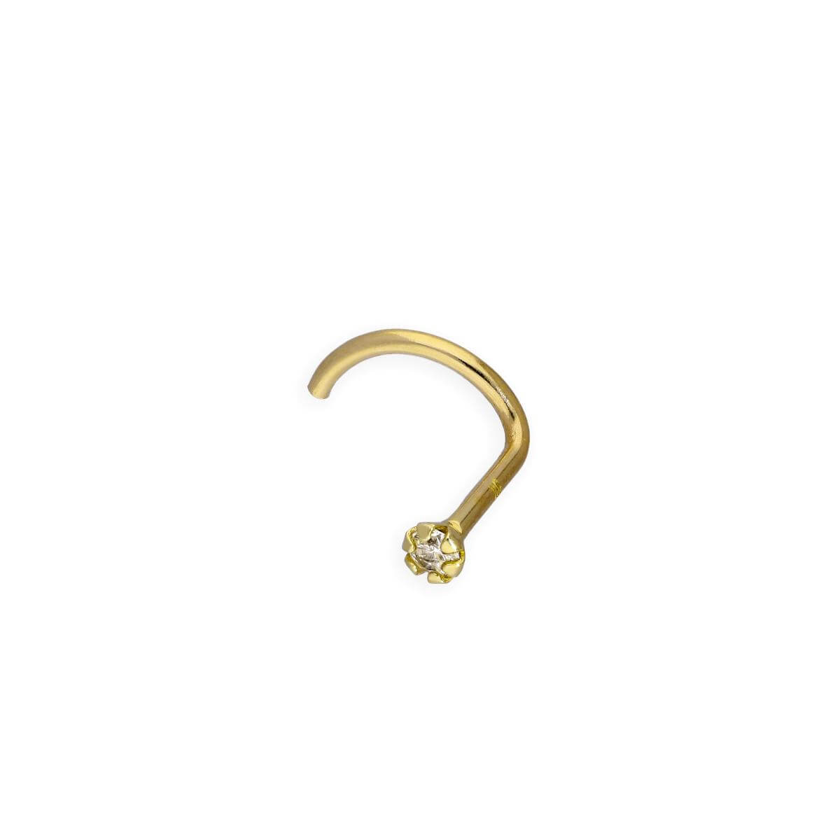 9ct Gold & 0.015ct Diamond 22Ga Nose Screw