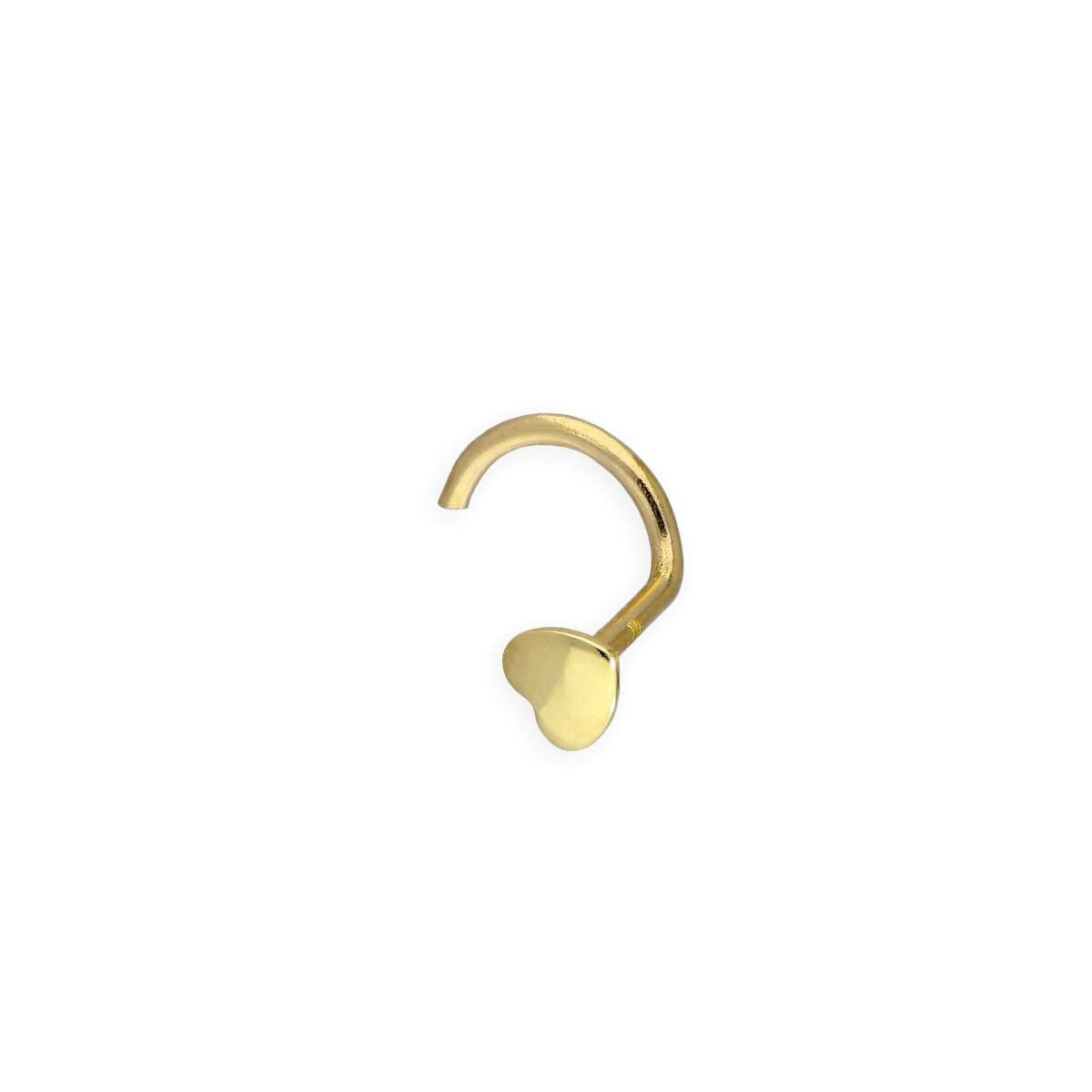 9ct Gold 23Ga Heart Nose Screw