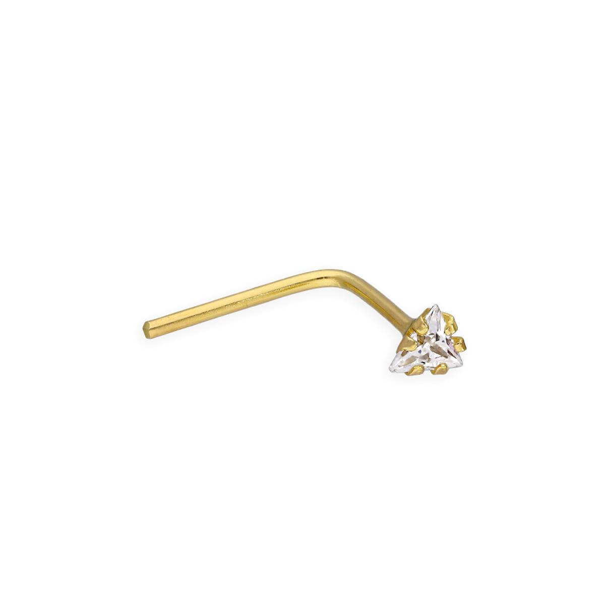 9ct Gold & Clear CZ Crystal 22Ga Triangle L-Shaped Nose Stud