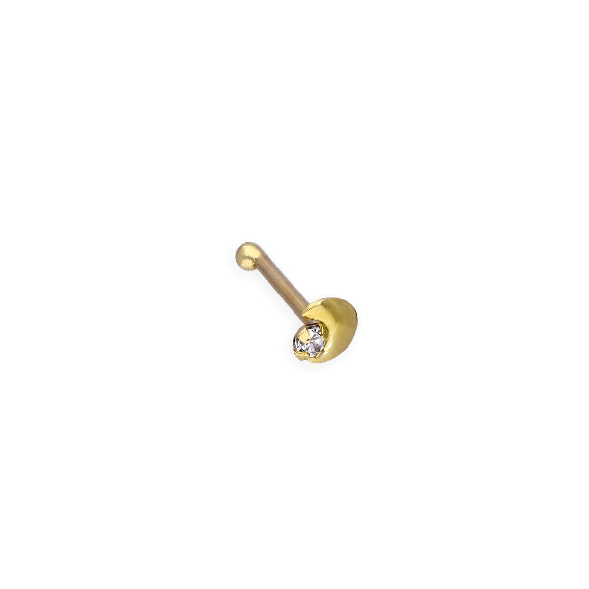 9ct Gold & Clear CZ Crystal 22Ga Moon & Star Nose Stud
