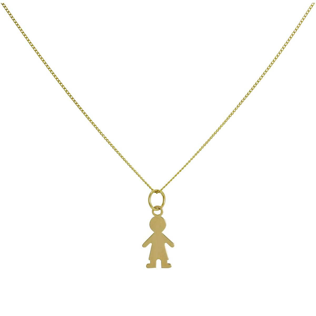 9ct Gold Ragdoll Boy Pendant Necklace 16 - 20 Inches