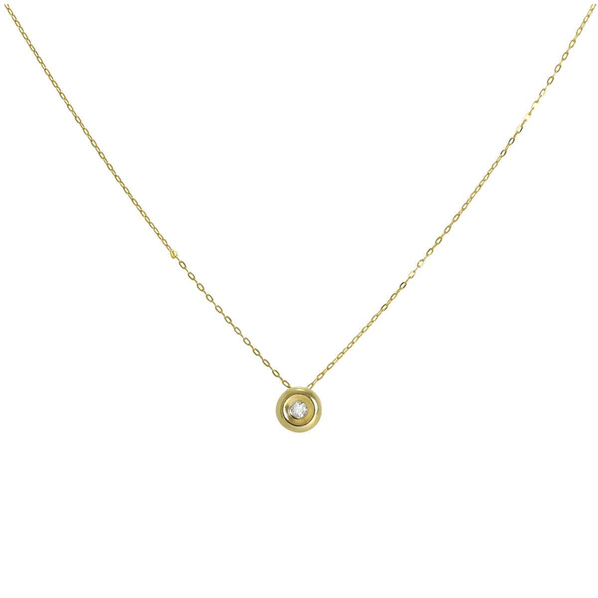 9ct Gold & 0.019ct Diamond Round Bead on Fine 16 Inch Chain