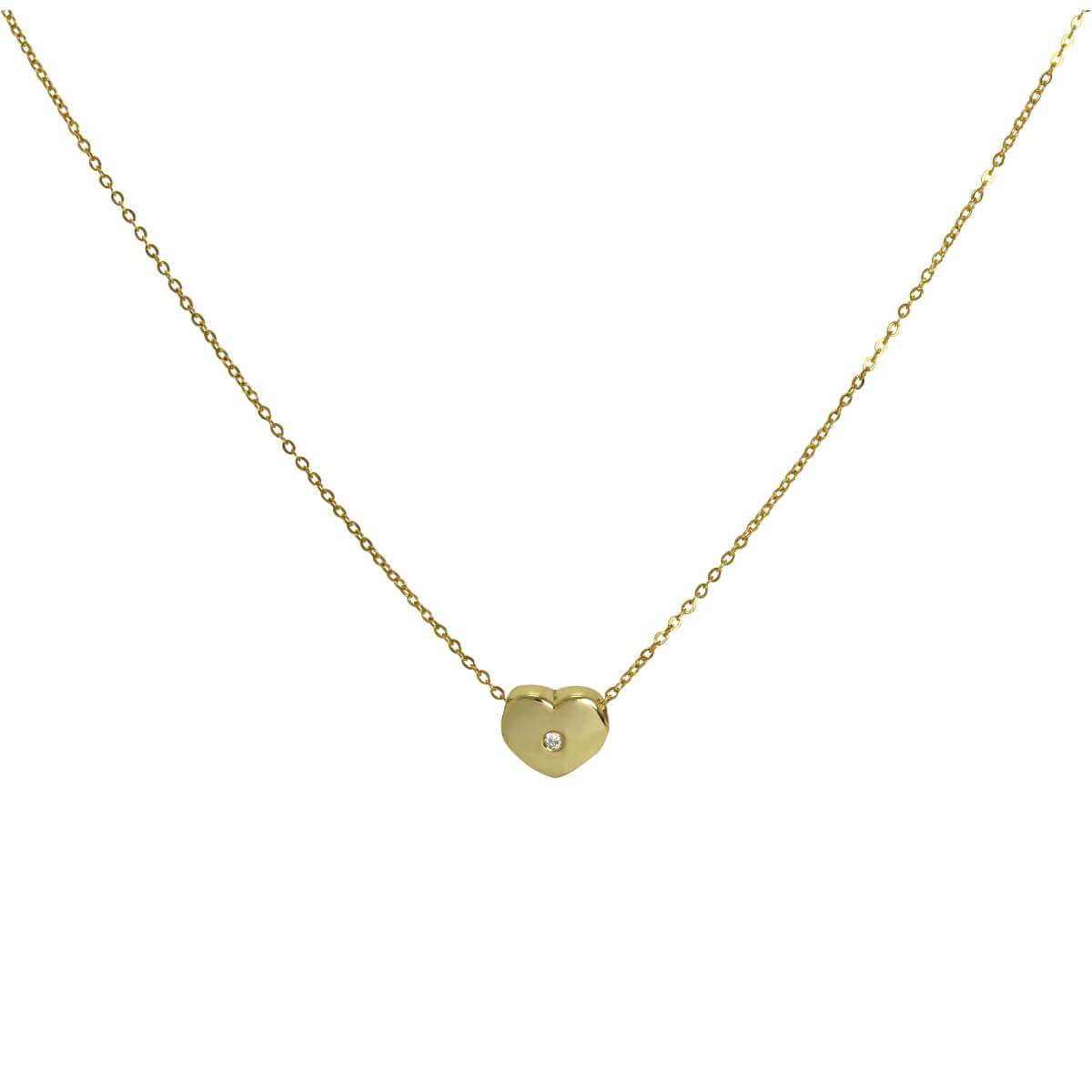 9ct Gold & 0.006ct Diamond Heart Bead on Fine 17 Inch Chain