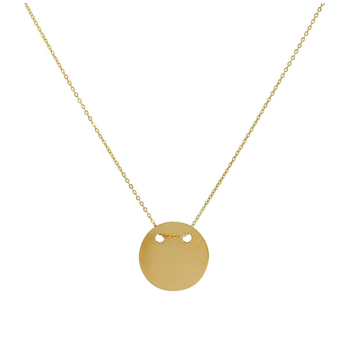 9ct Gold Engravable Circle Necklace 16 Inches