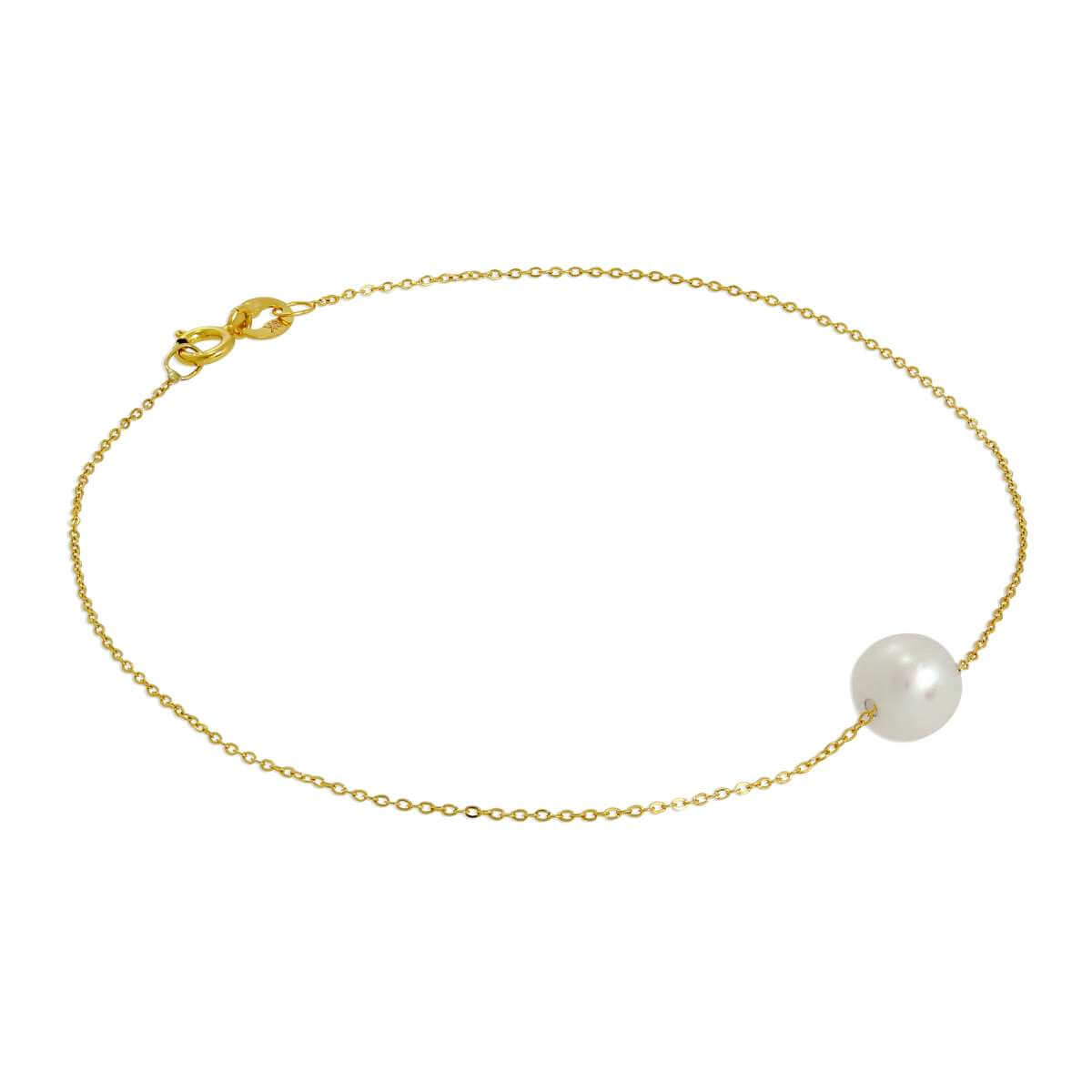 9ct Gold & 6mm Pearl Fine 1mm Curb Bracelet 7 Inches