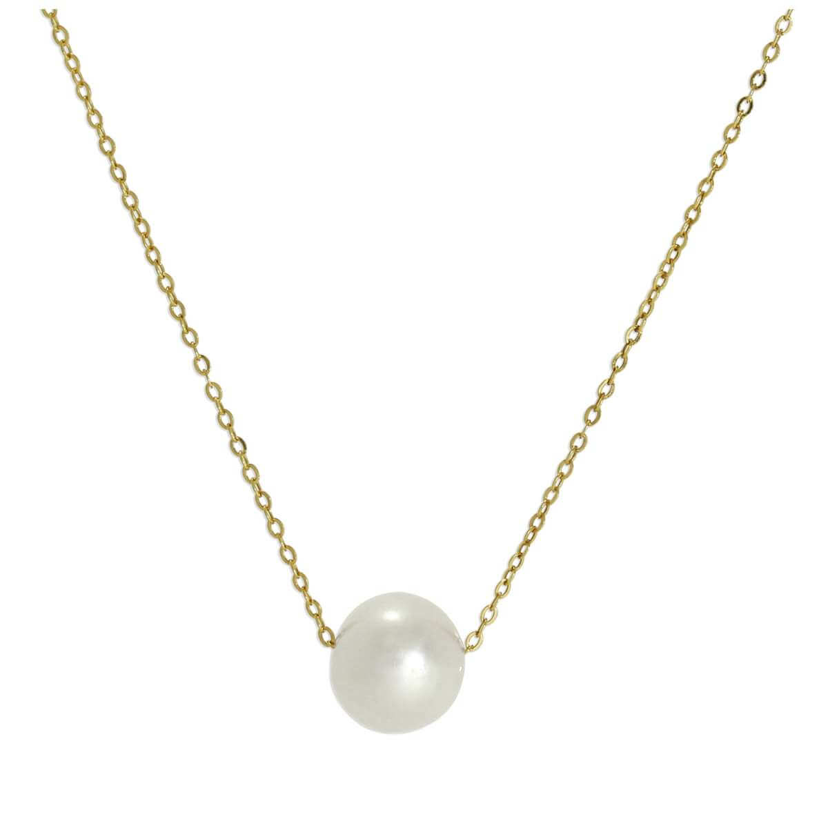 9ct Gold & 6mm Pearl Fine 1mm Curb Necklace 16 Inches