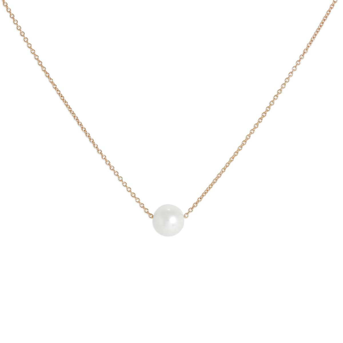 9ct Rose Gold & 5mm Pearl 17 Inch Necklace