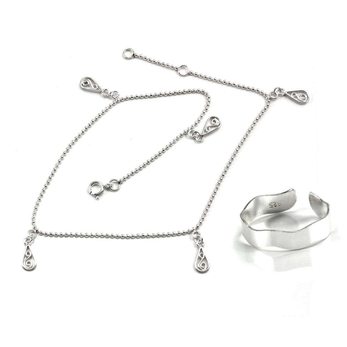 sterling silver twirl anklet toe ring set jewellerybox