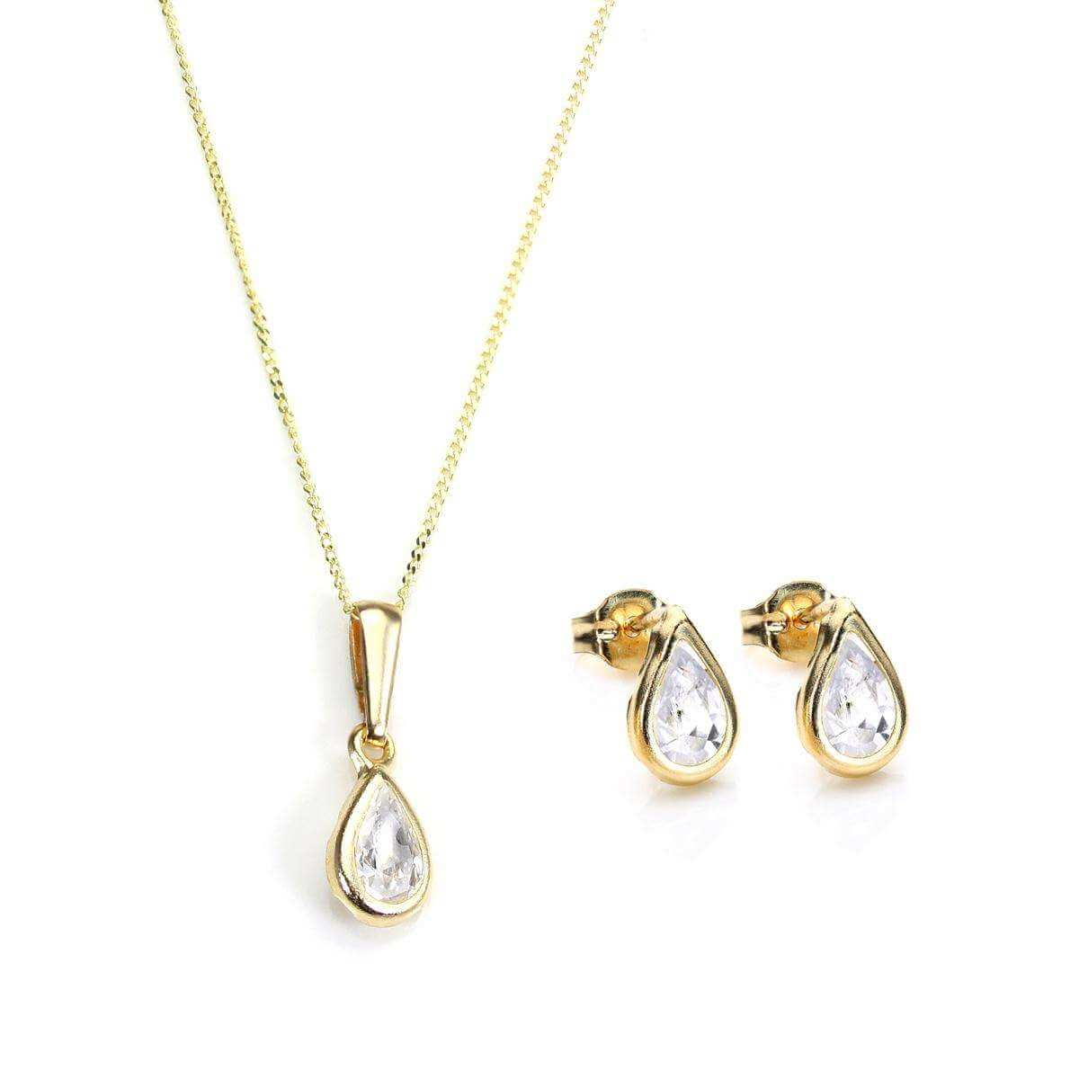 9ct Gold & April Birthstone Pendant & Stud Earrings Set