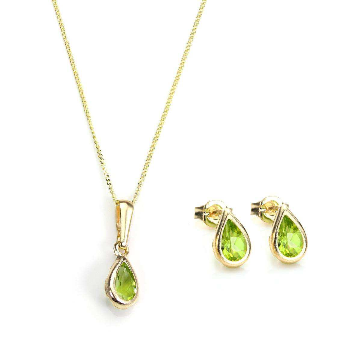9ct Gold & August Birthstone Pendant & Stud Earrings Set