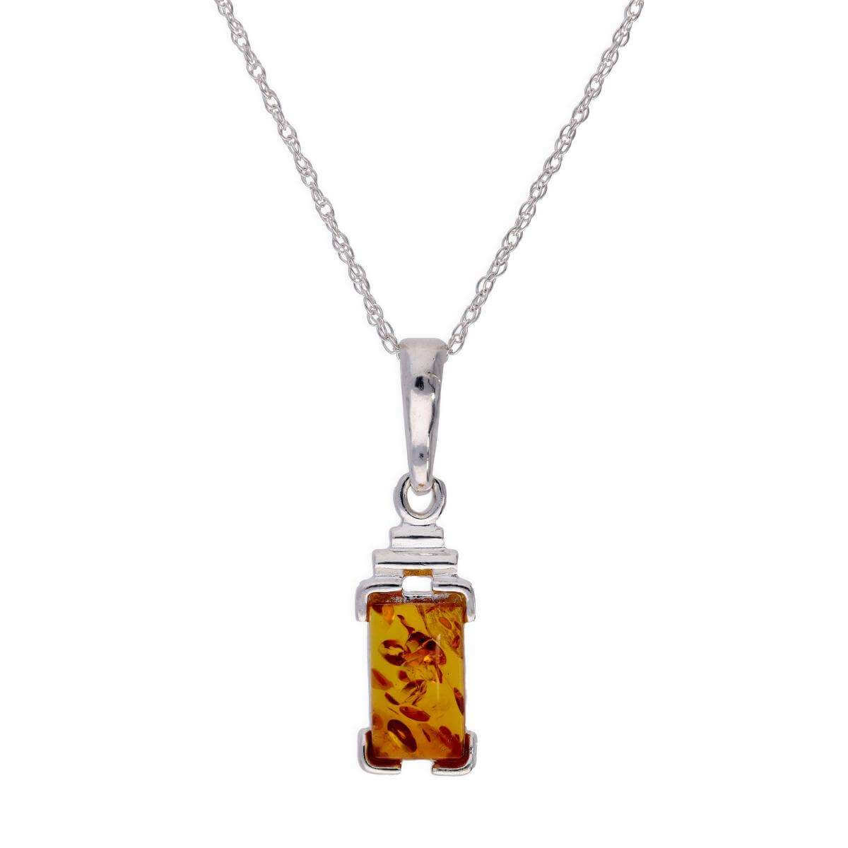Sterling Silver & Baltic Amber Rectangular Pendant Necklace 16 - 22 Inches