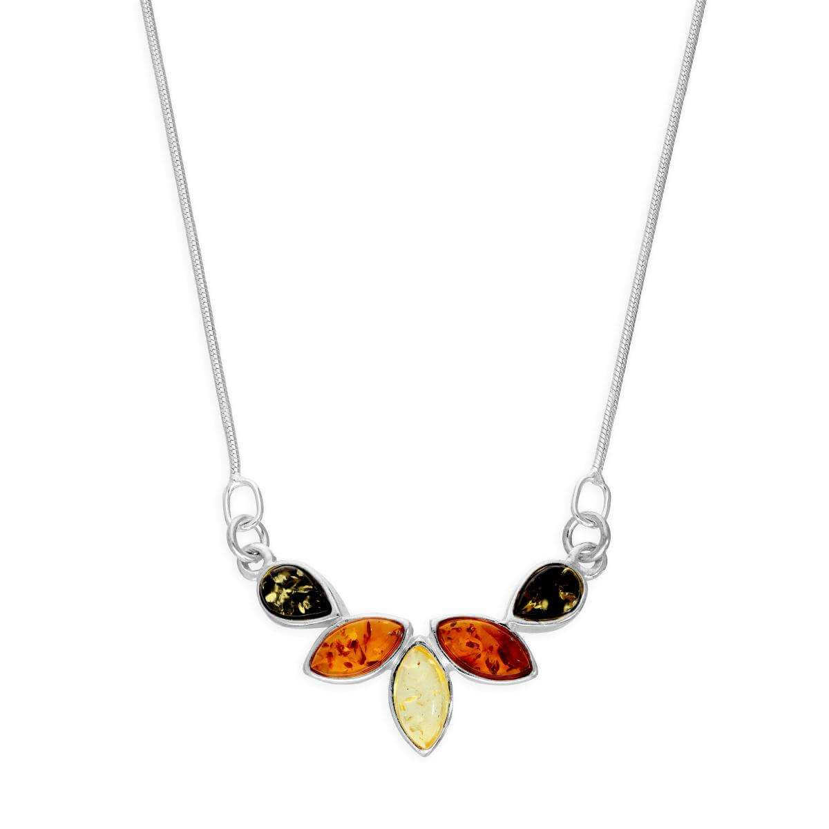 Sterling Silver & Multicoloured Baltic Amber Necklace