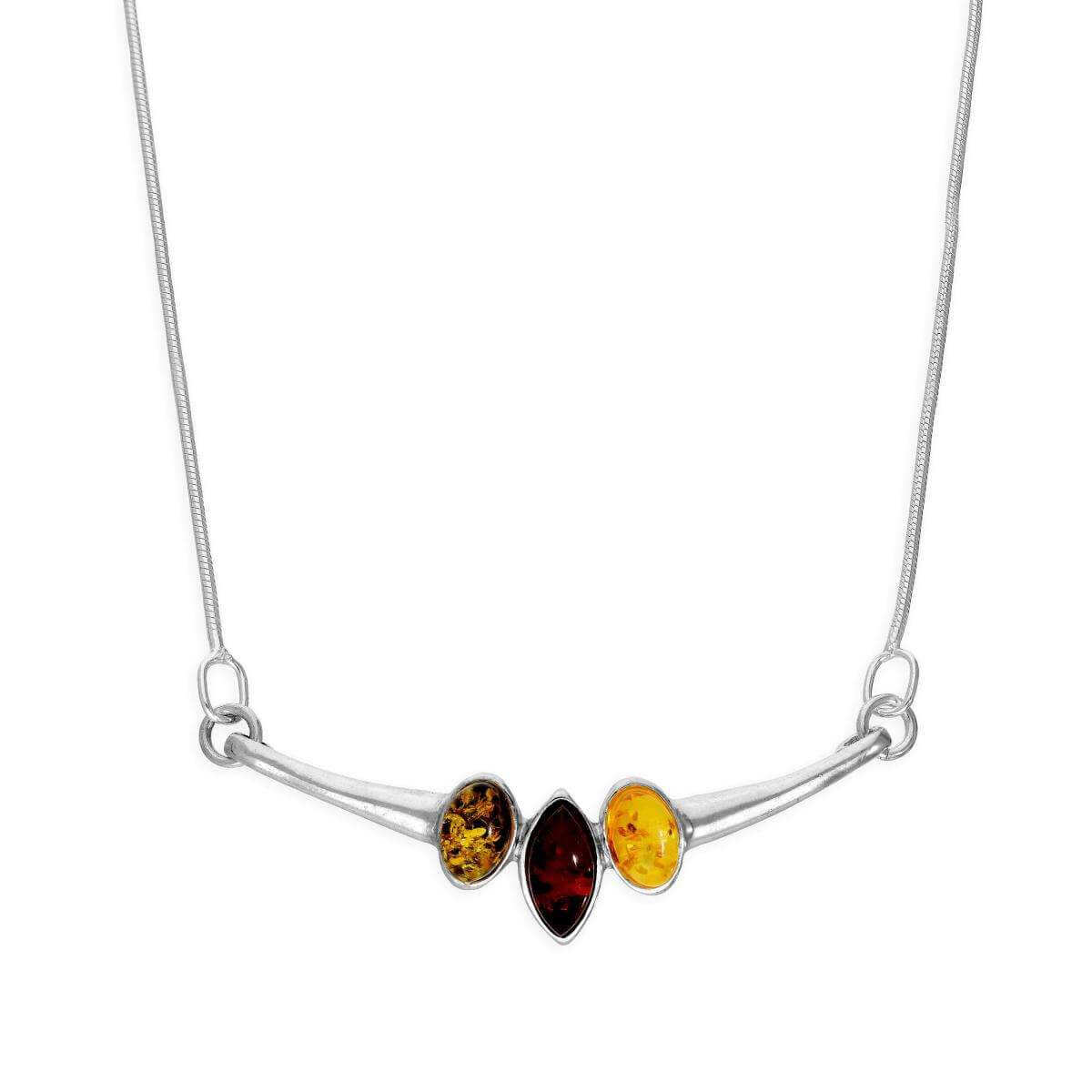 Sterling Silver & Multicoloured Triple Baltic Amber Necklace