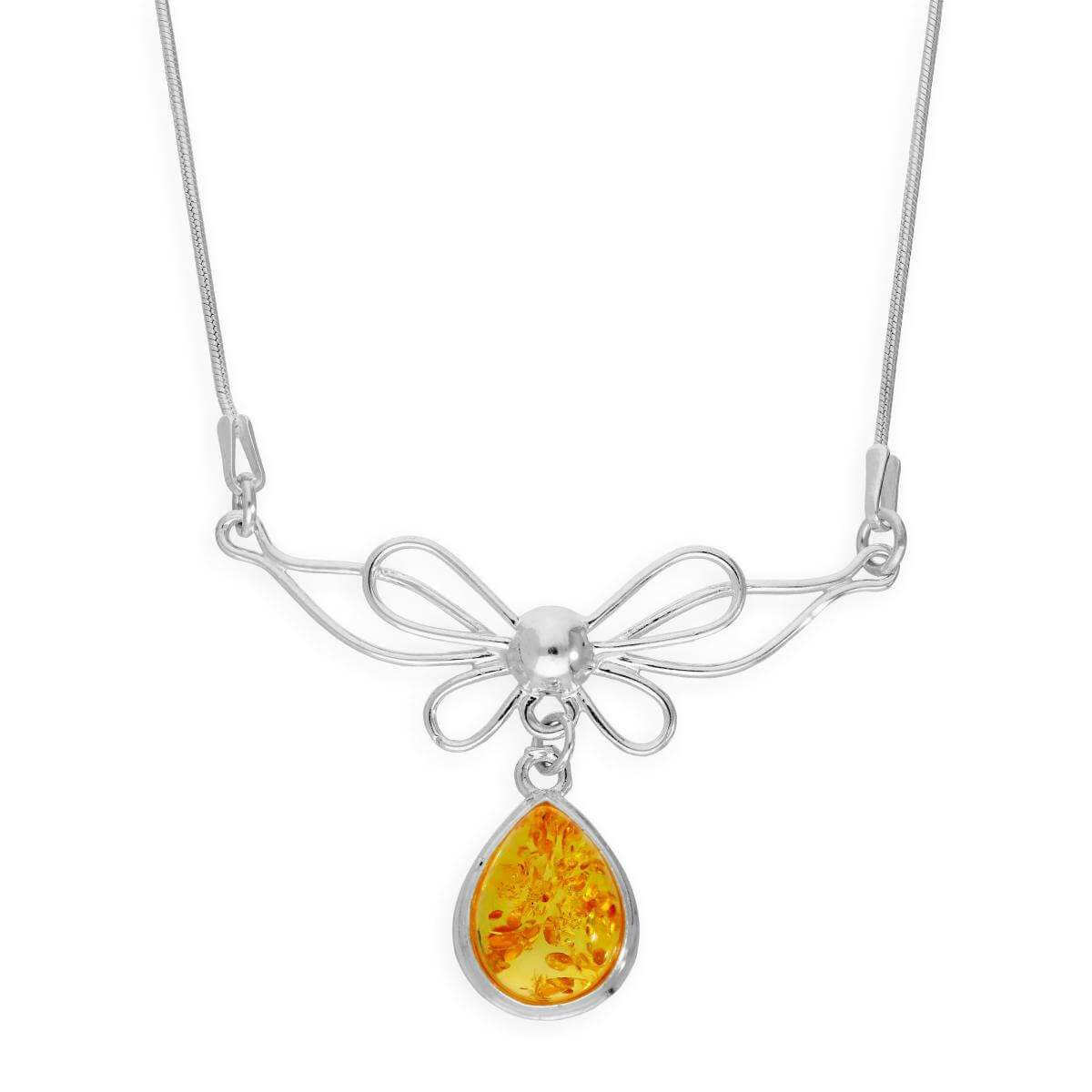 Sterling Silver Ribbon Bow & Lemon Coloured Baltic Amber Teardrop Necklace