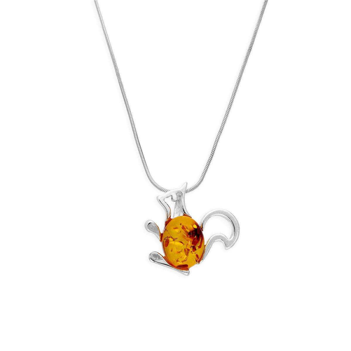 Sterling Silver & Baltic Amber Squirrel Outline Pendant Necklace 14 - 22 Inches