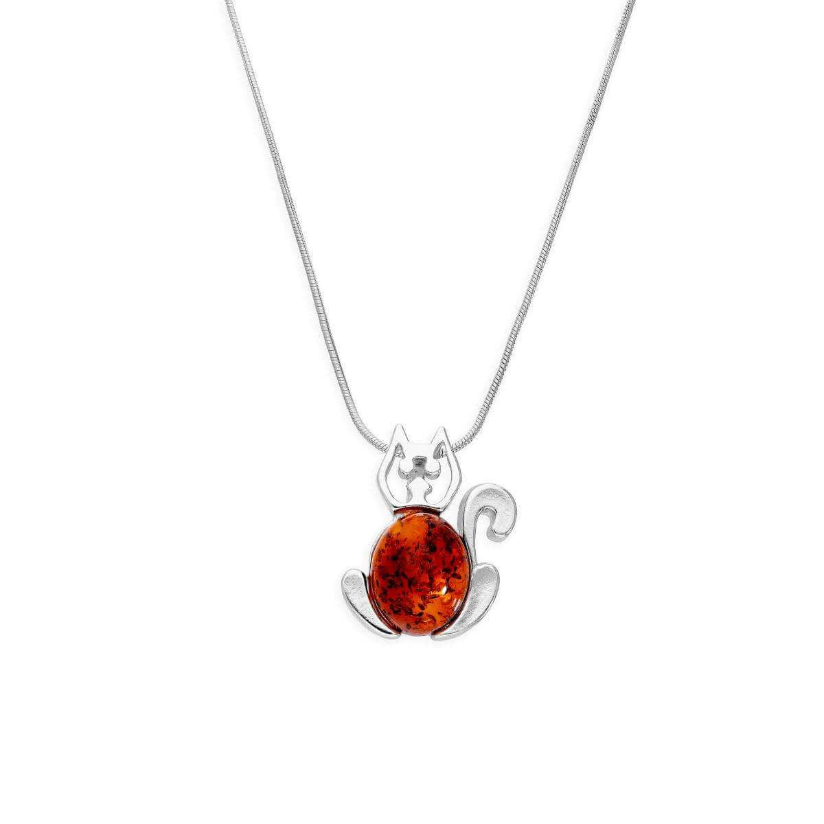 Sterling Silver & Baltic Amber Cat Outline Pendant Necklace 14 - 22 Inches