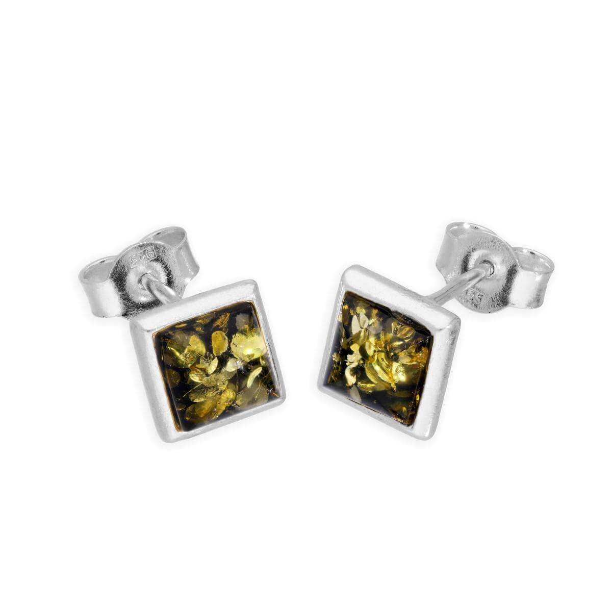 Sterling Silver & Green/Yellow Amber Stud Earrings