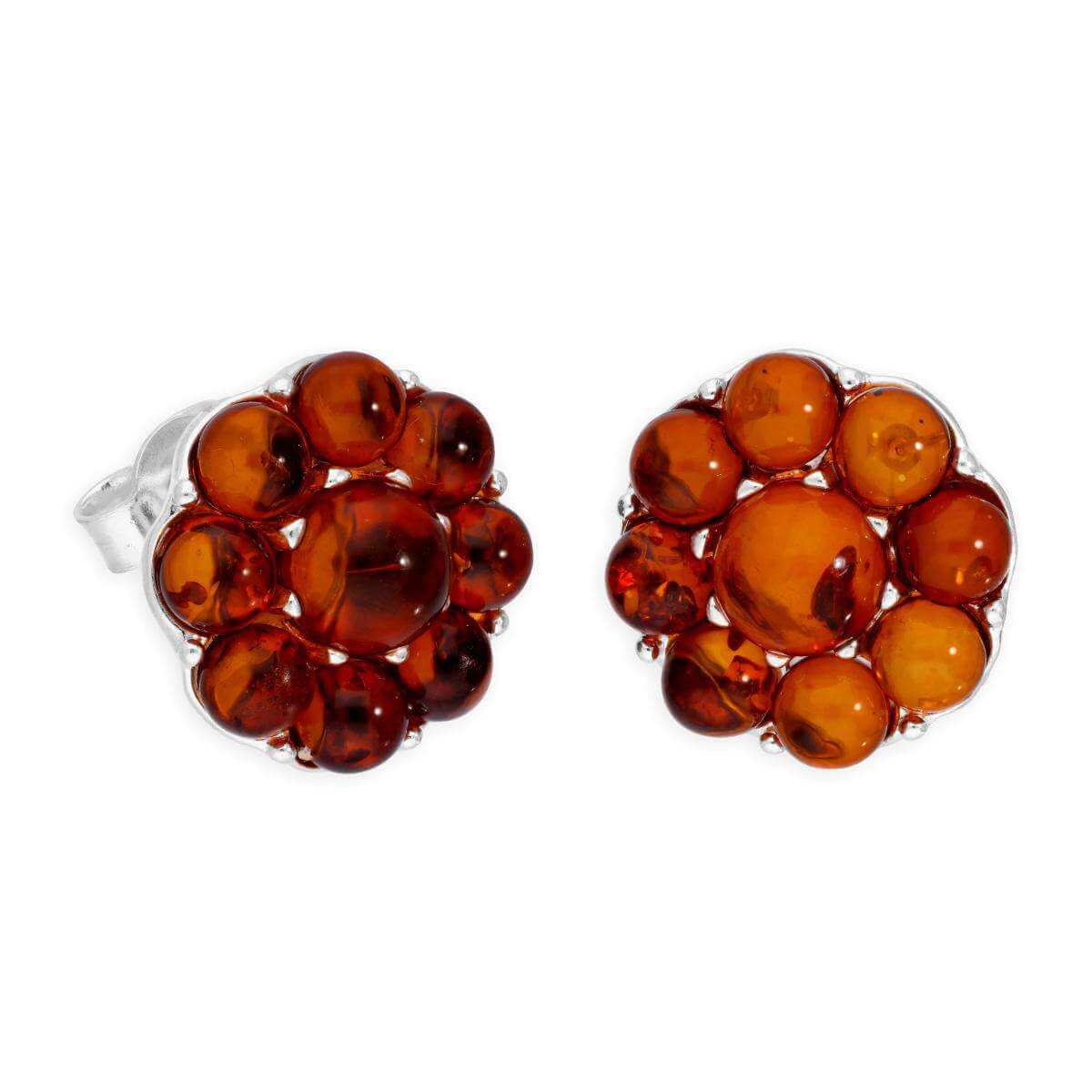 Sterling Silver & Baltic Amber Big Flower Stud Earrings