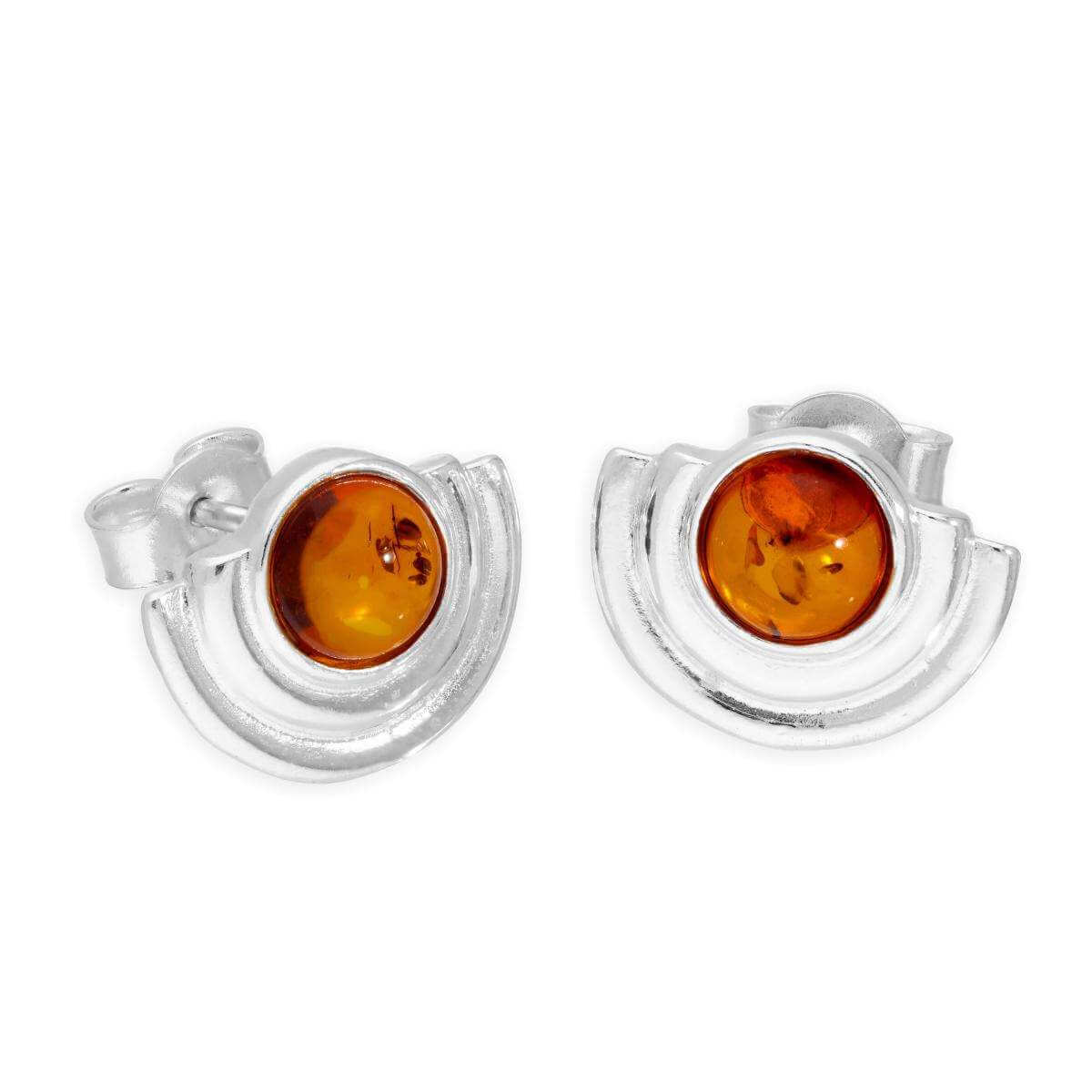 Sterling Silver & Baltic Amber Semi-Circles Stud Earrings