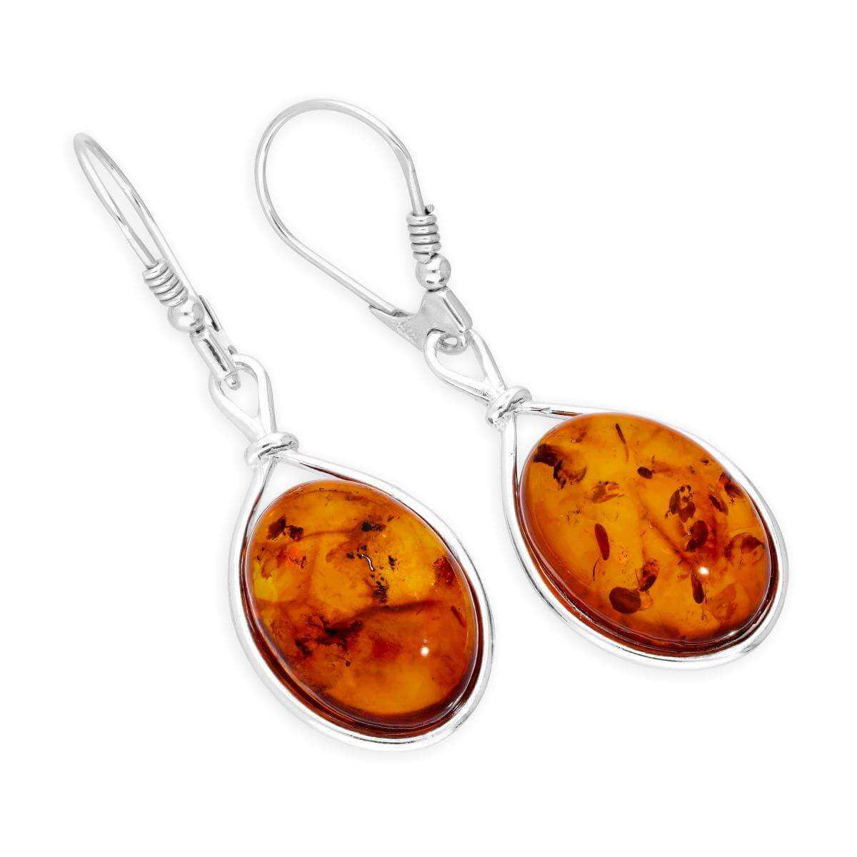 Sterling Silver & Baltic Amber Large Teardrop Leverback Earrings