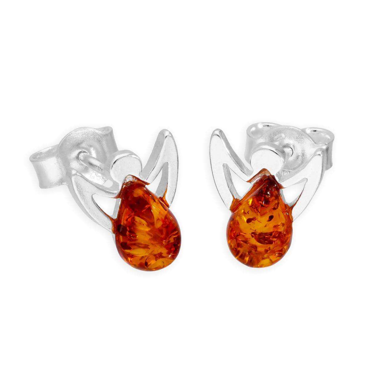 Sterling Silver & Baltic Amber Angel Stud Earrings