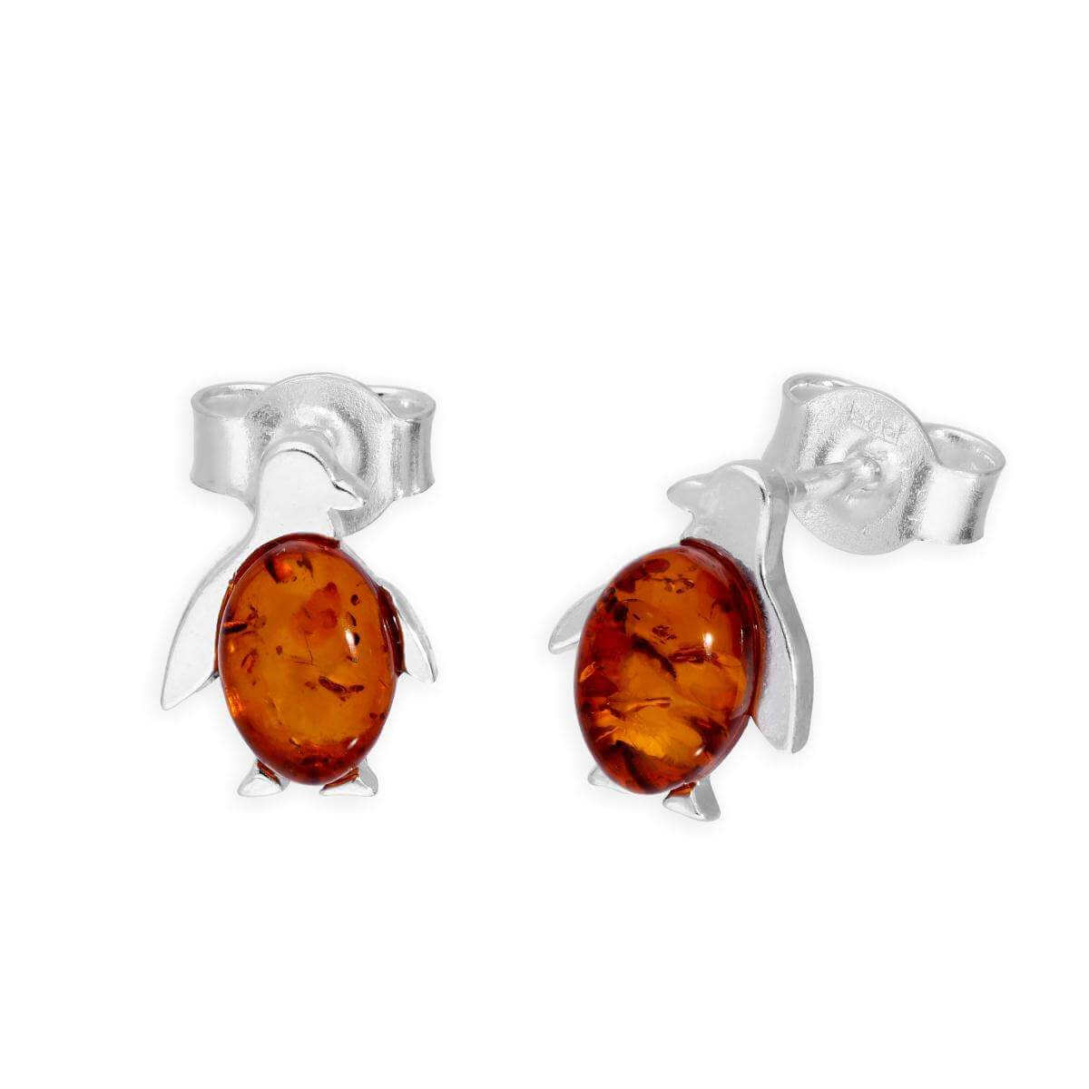 Sterling Silver & Baltic Amber Penguin Stud Earrings