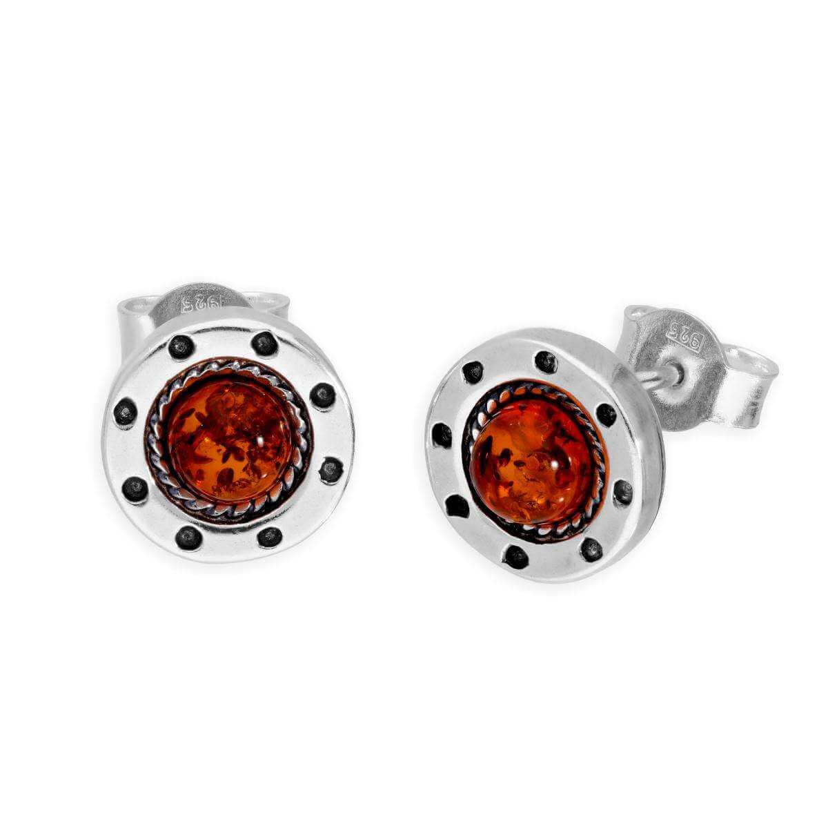 Sterling Silver & Baltic Amber Fancy Wheel Stud Earrings