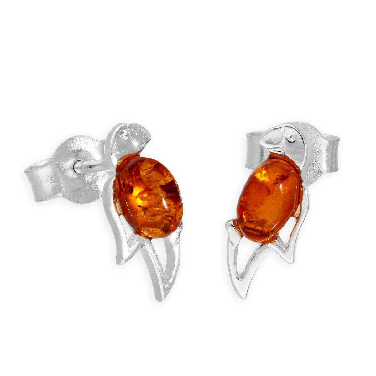 Sterling Silver & Baltic Amber Parrot Stud Earrings