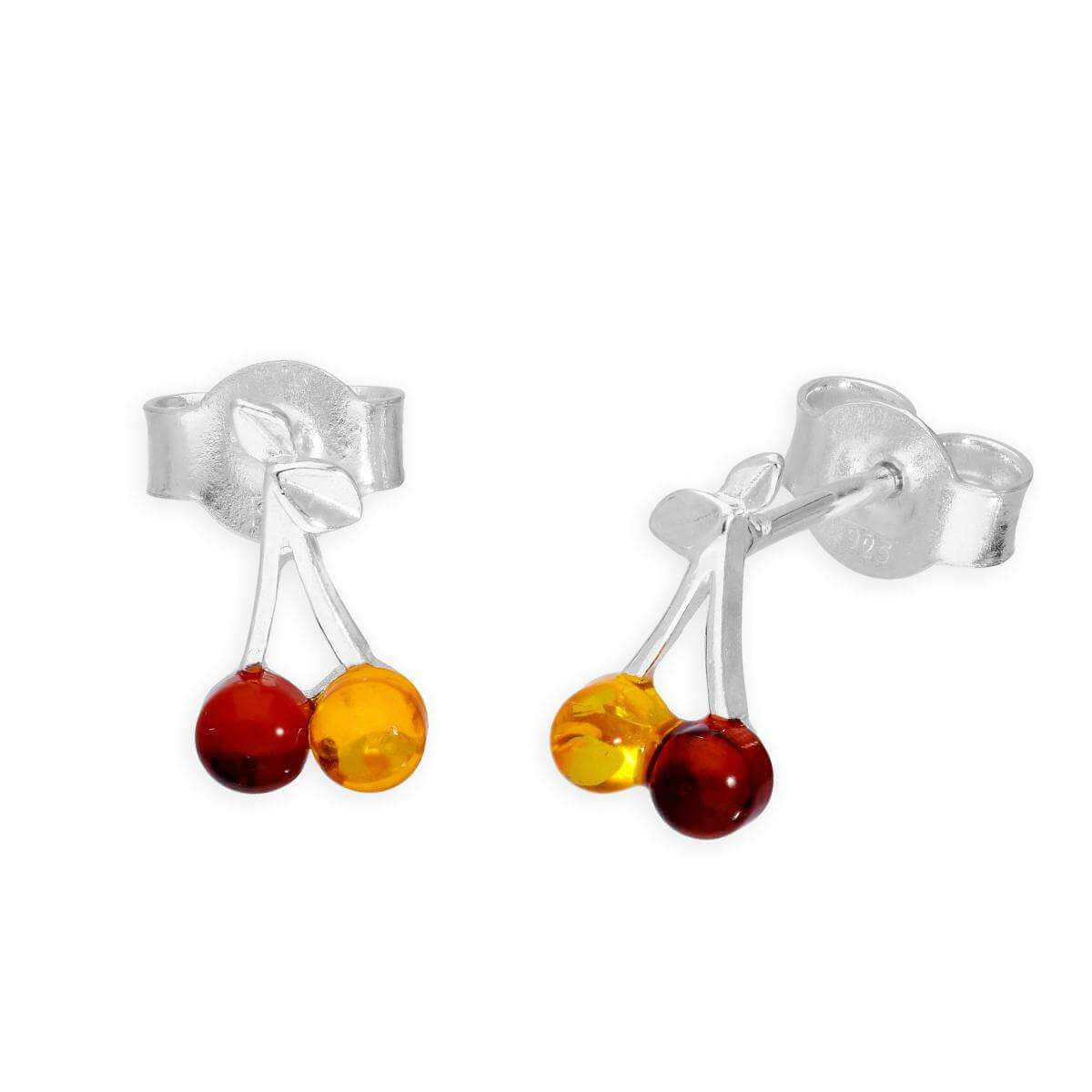 Sterling Silver & Mixed Amber Cherries Stud Earrings