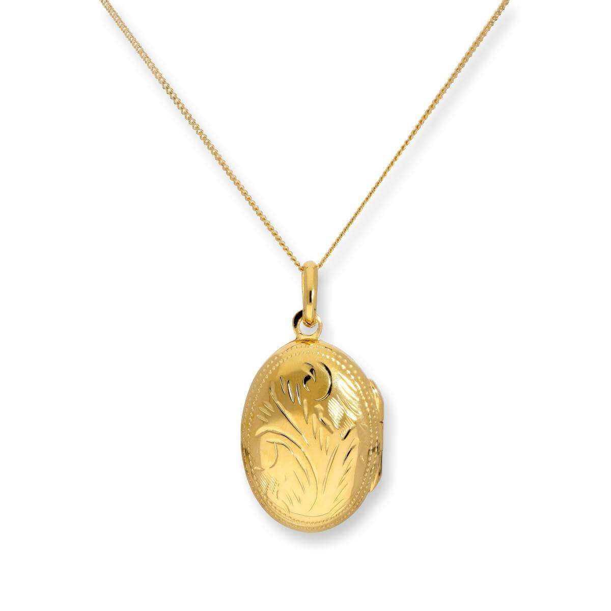 Gold Dipped Sterling Silver Oval Engraved Locket on Chain 16 - 22 Inches