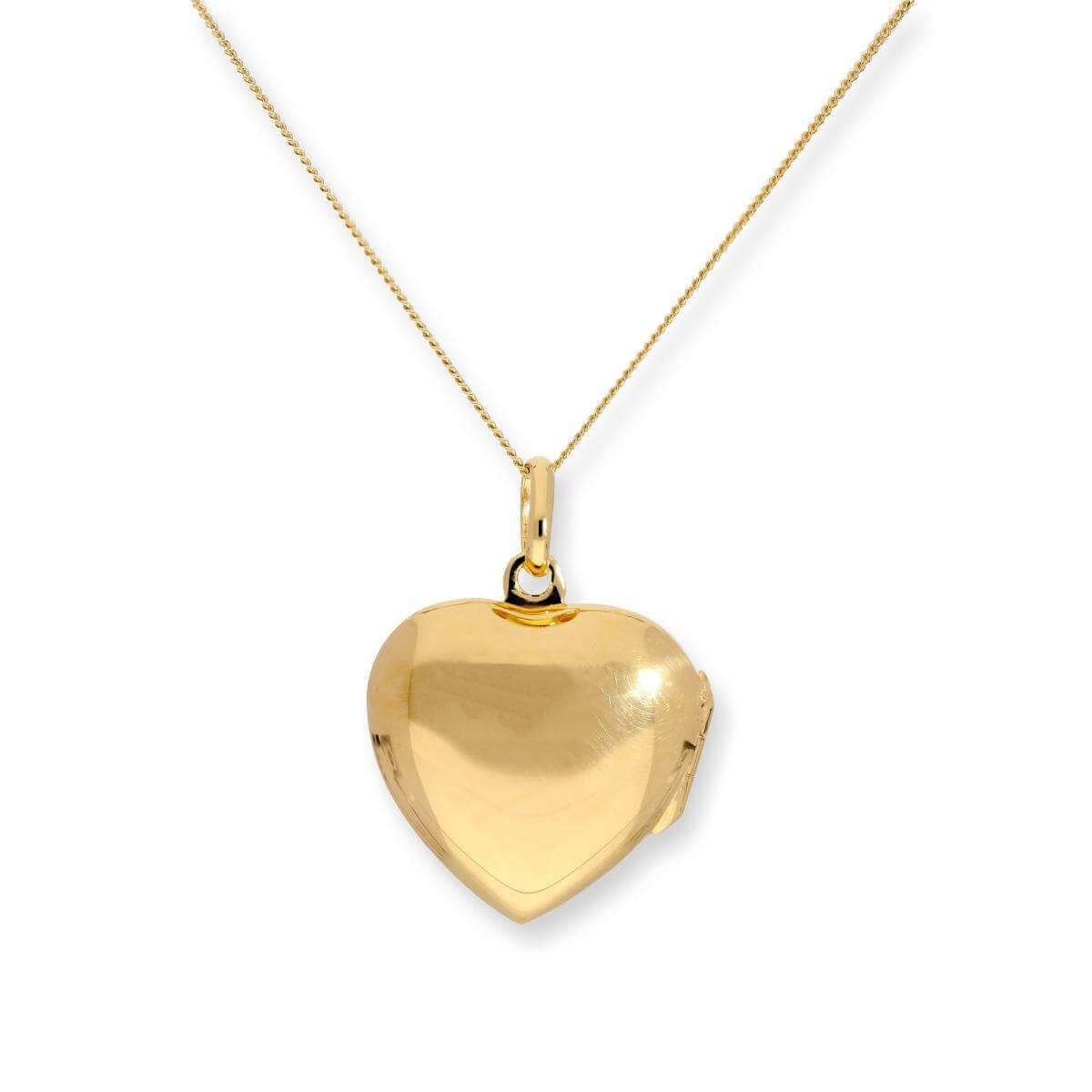 Gold Plated Sterling Silver Engravable Heart Locket on Chain 16 - 22 Inches