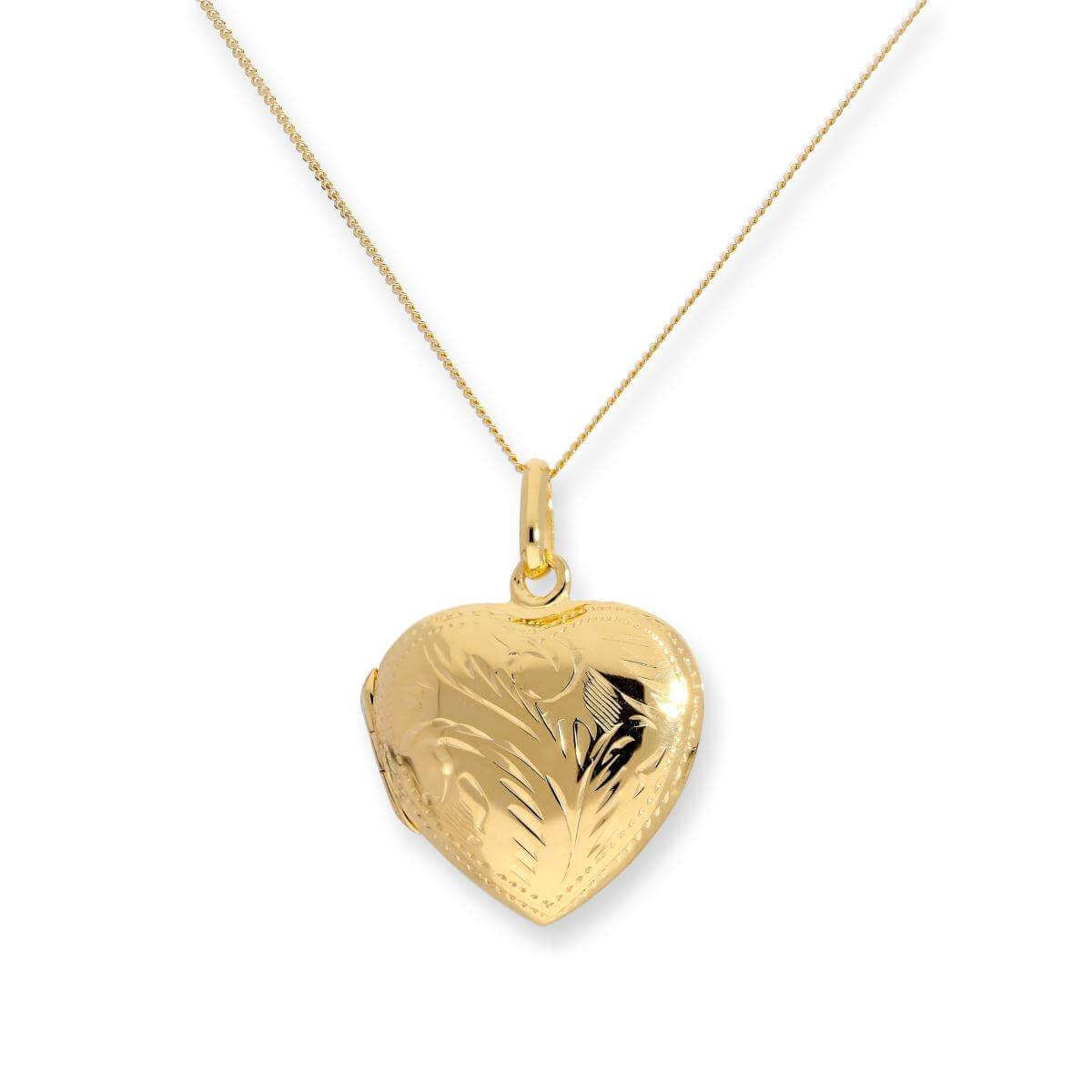 Gold Dipped Sterling Silver Engraved Heart Locket on Chain 16 - 22 Inches