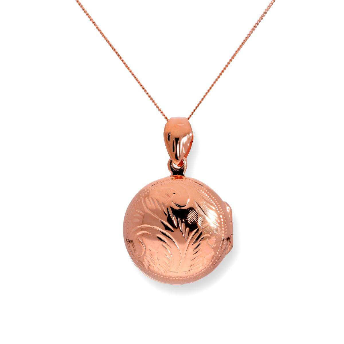 Rose Gold Dipped Sterling Silver Round Engraved Locket 16 - 22 Inches