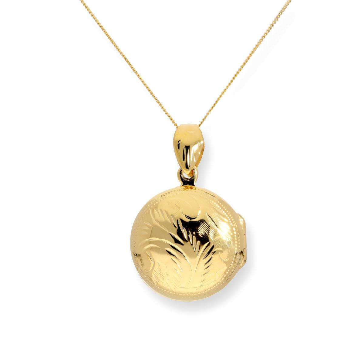 Gold Plated Sterling Silver Engraved Round Locket on Chain 16 - 22 Inches