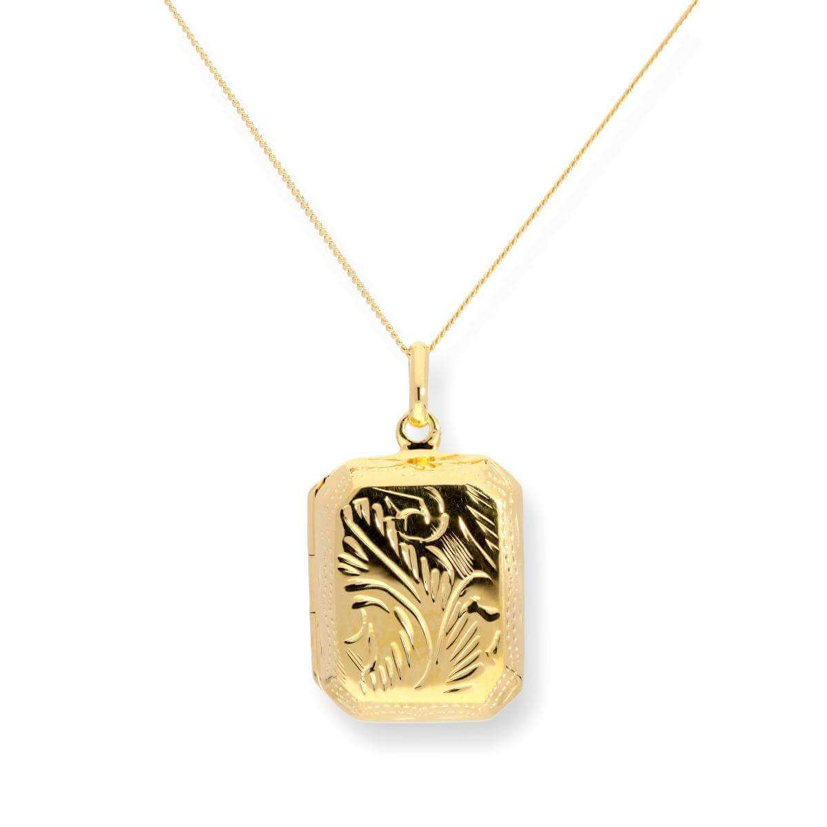 Gold Dipped Sterling Silver Octagonal Engraved Locket 16 - 22 Inches