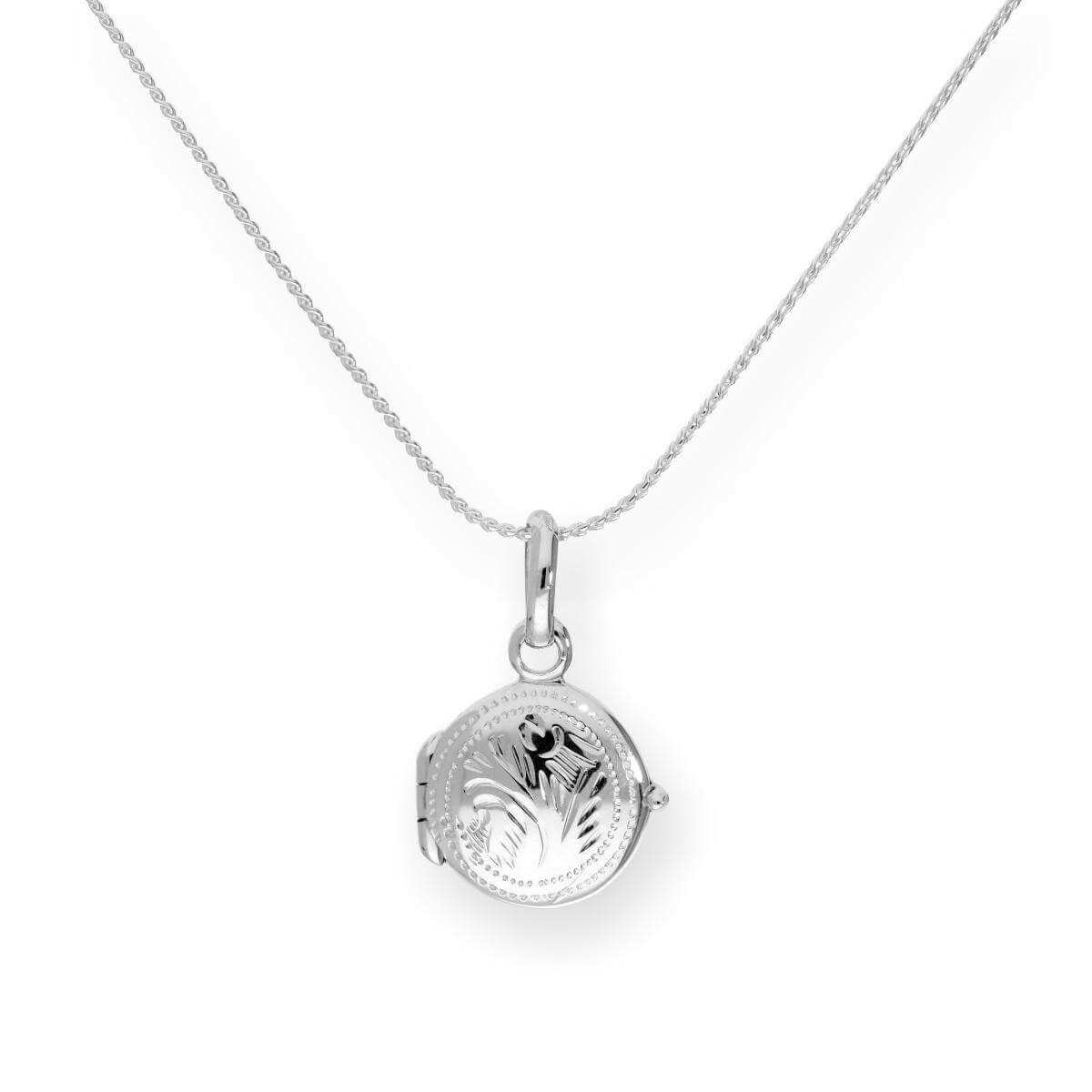 Tiny Sterling Silver Round Engraved Locket on Chain 16 - 22 Inches