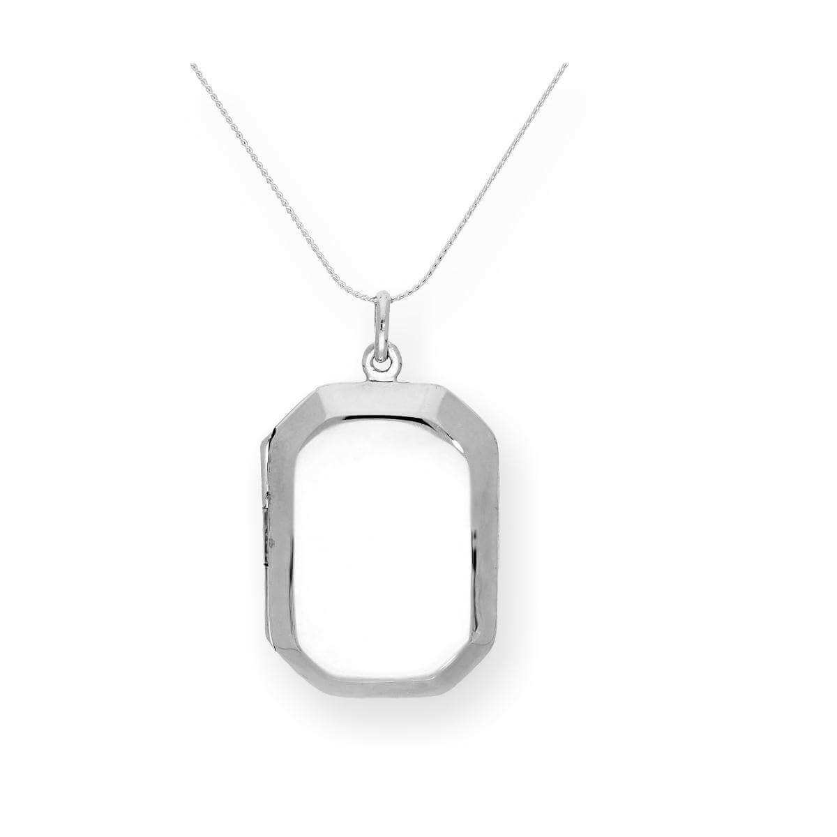 Large Sterling Silver Engravable Octagonal Locket on Chain 16 - 22 Inches