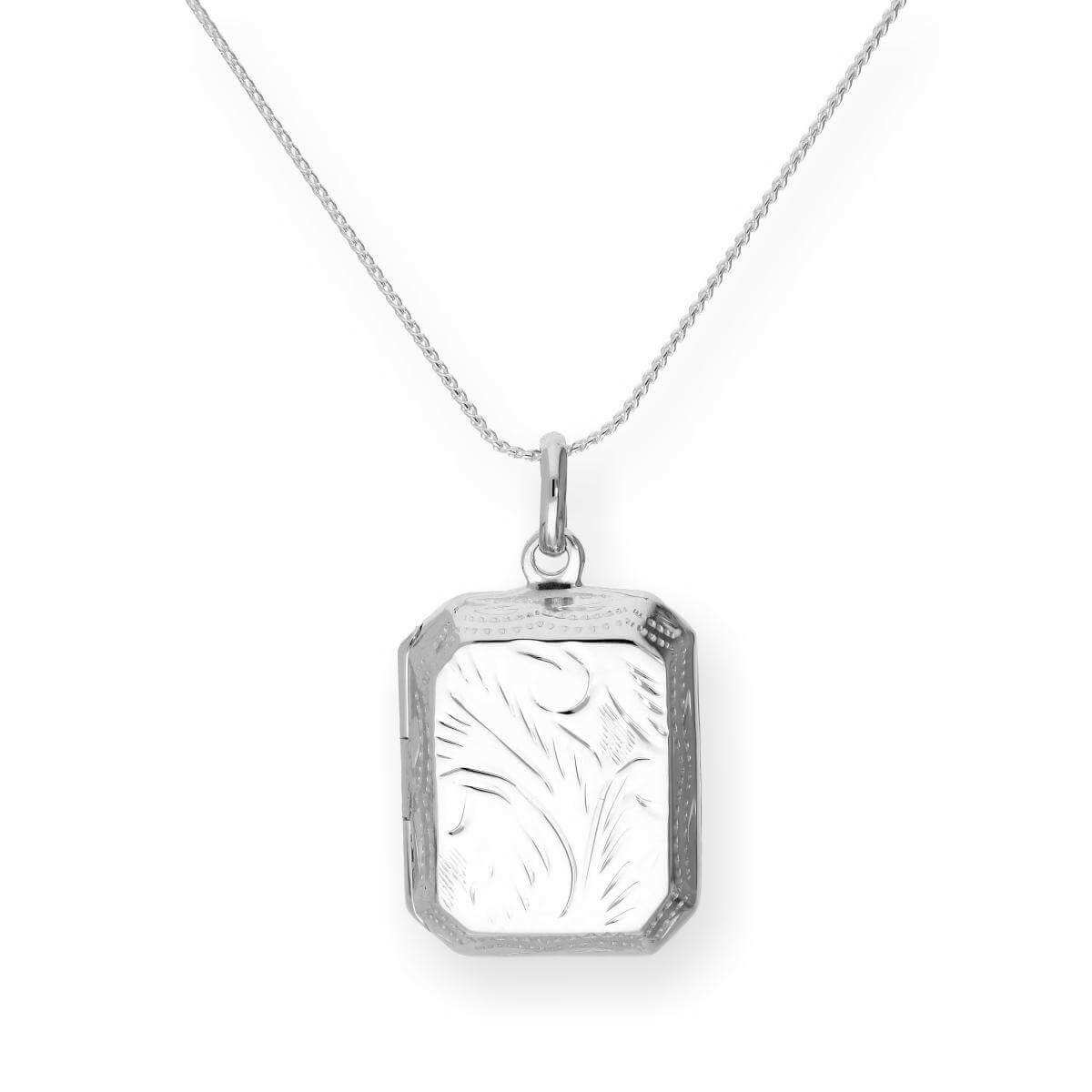Sterling Silver Engraved Octagonal Locket on Chain 16 - 22 Inches