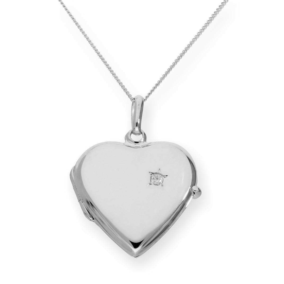 Sterling Silver & CZ Crystal Engravable Heart Locket on Chain 16 - 22 Inches