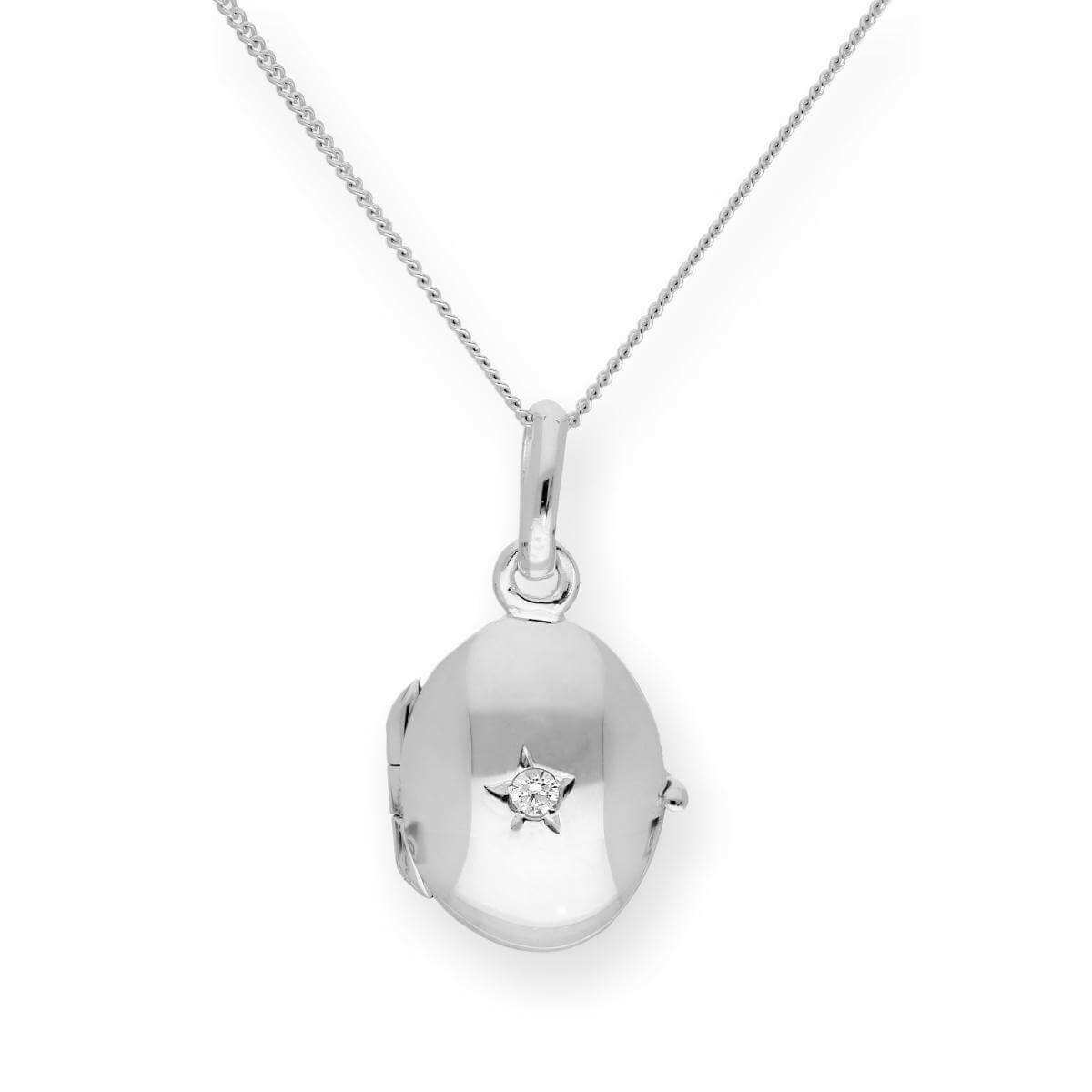 Sterling Silver & CZ Crystal Engravable Oval Locket on Chain 16 - 22 Inches